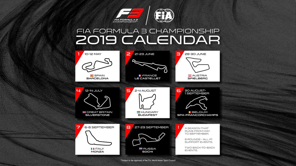 "Formula 3 On Twitter: ""icymi - Here Is Our 2019 #f3 Calendar!… "" Formula 3 Calendar 2019"