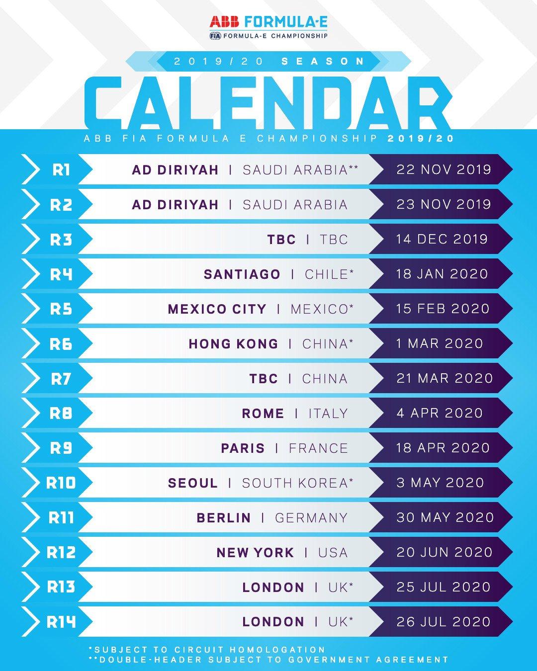Formula E: Calendar Released For 2019-2020 With London Double-Header Formula 2 Calendar 2019