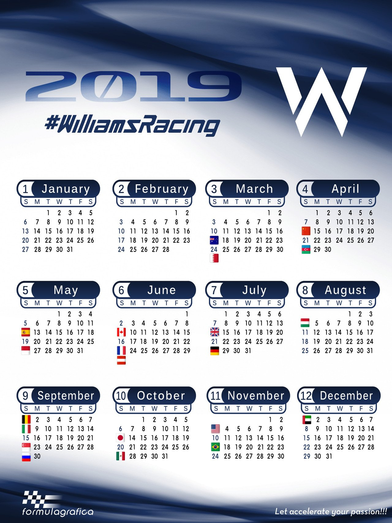 Formulagrafica — Calendar - 2019 Formula 1 Season - Williams Racing Calendar 2019 Formula 1