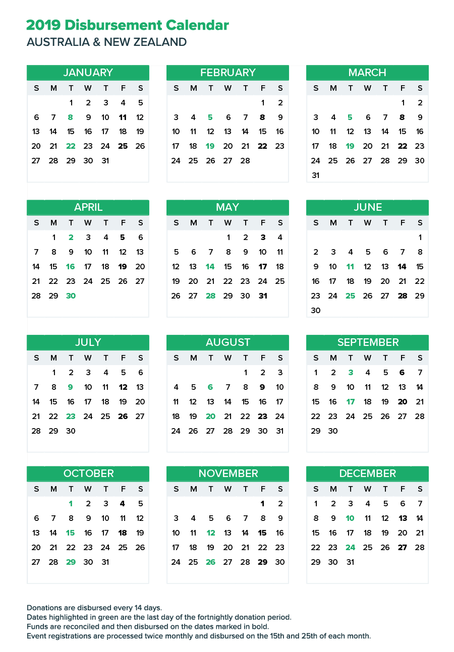Fortnightly Donation Payments Calendar | Everydayhero Calendar E N 2019