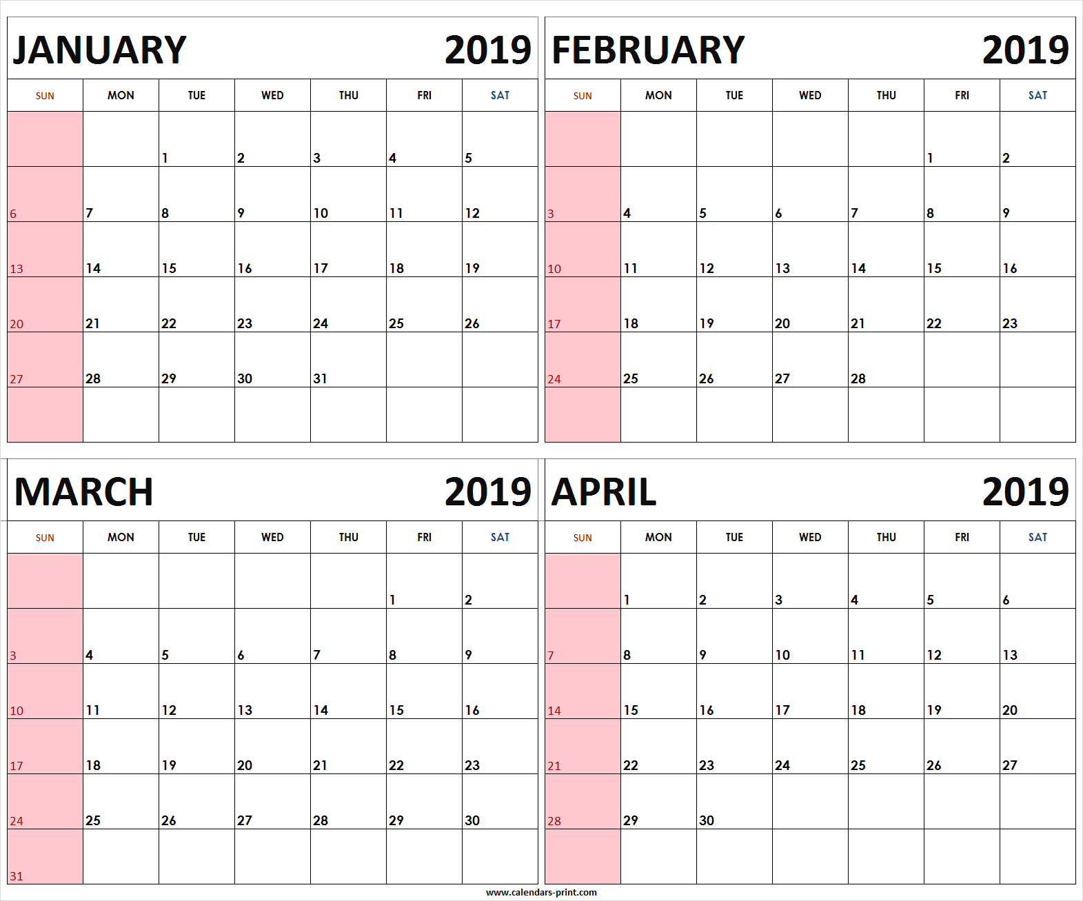 Four Monthly January February March April 2019 Calendar | Template Calendar 2019 January February March