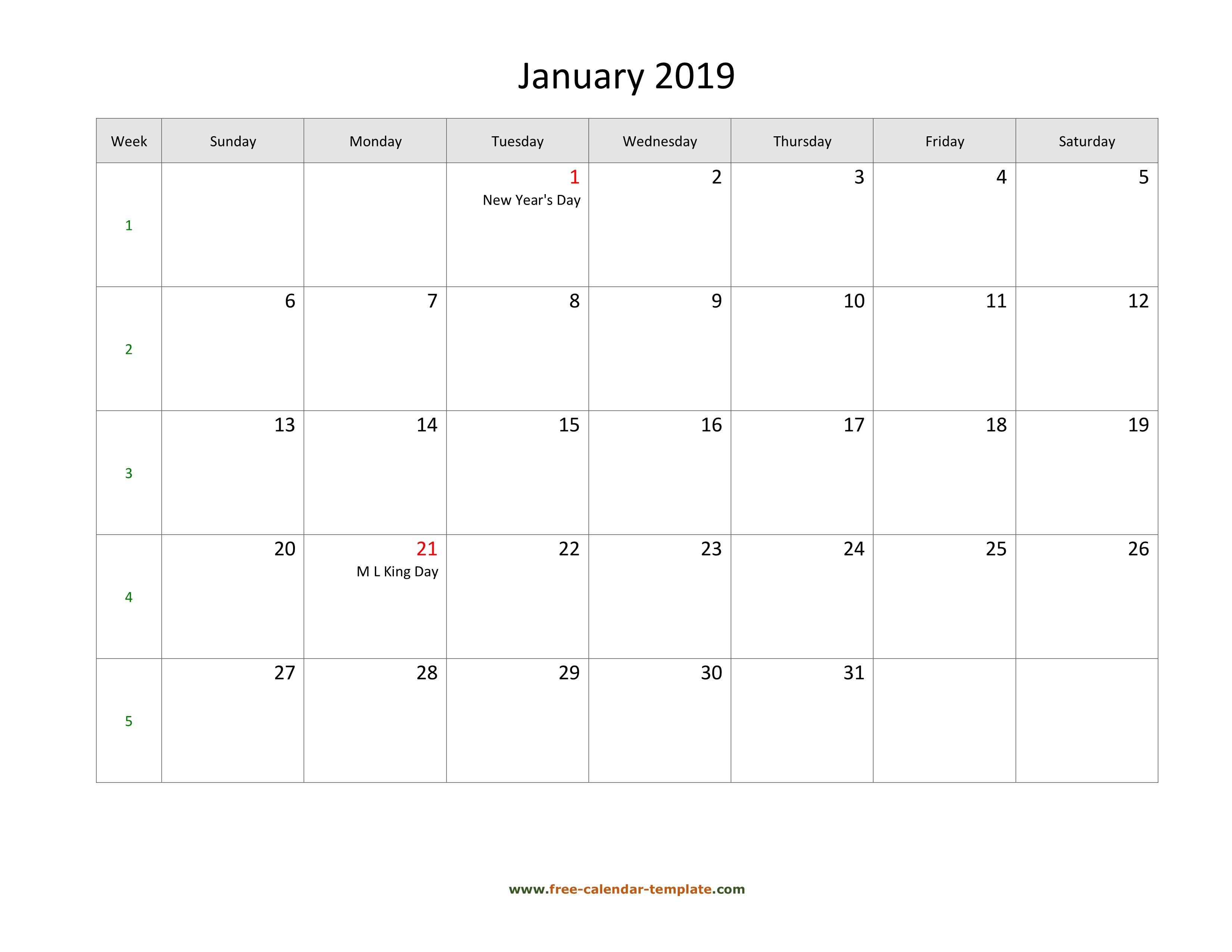Free 2019 Calendar Blank January Template (Horizontal) | Free Calendar 2019 January Pdf