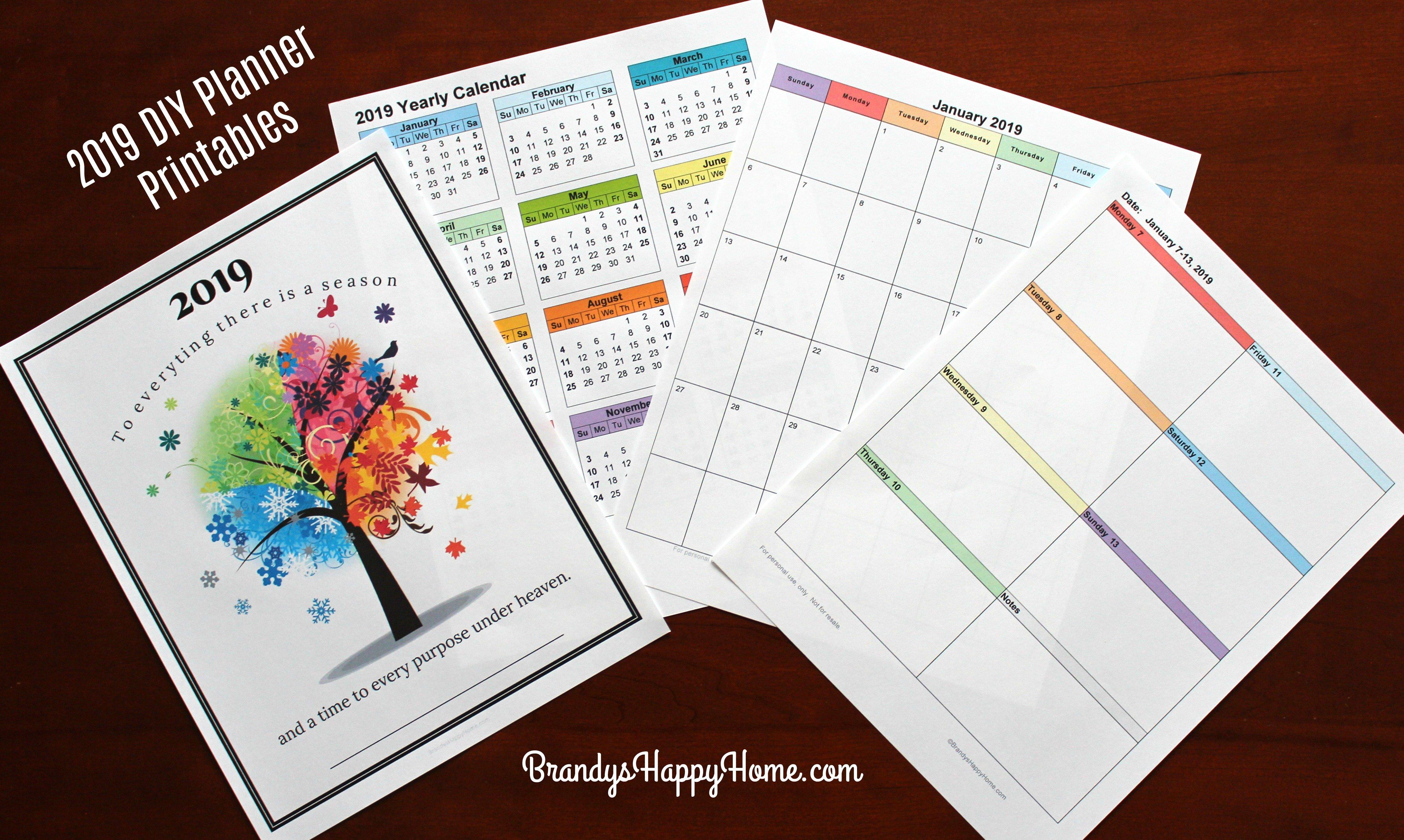 Free 2019 Diy Calendar Planner Printables Calendar 2019 Diy