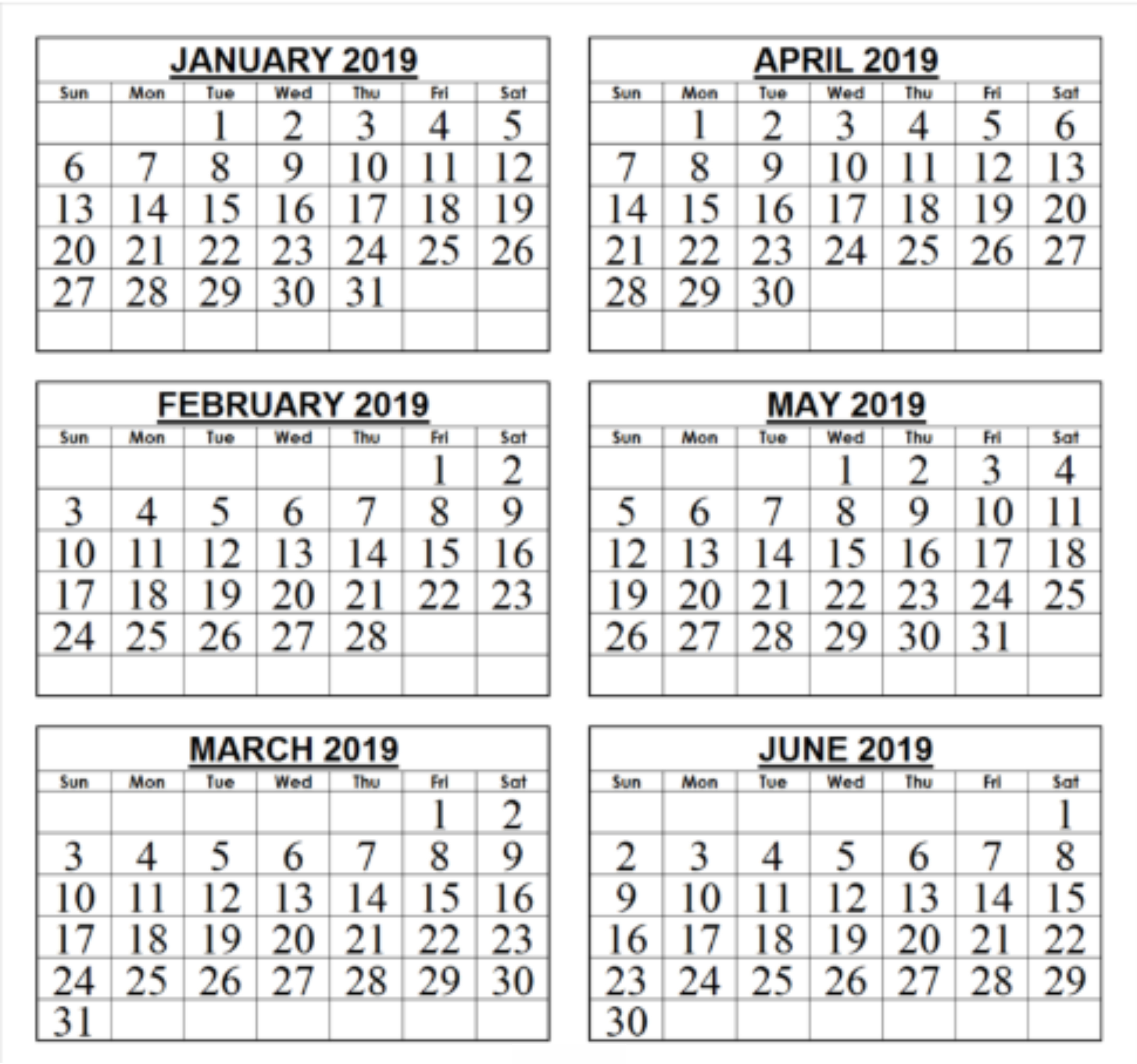 Free 2019 Download Six Month Blank Printable Calendar | [Free 6 Month Calendar 2019