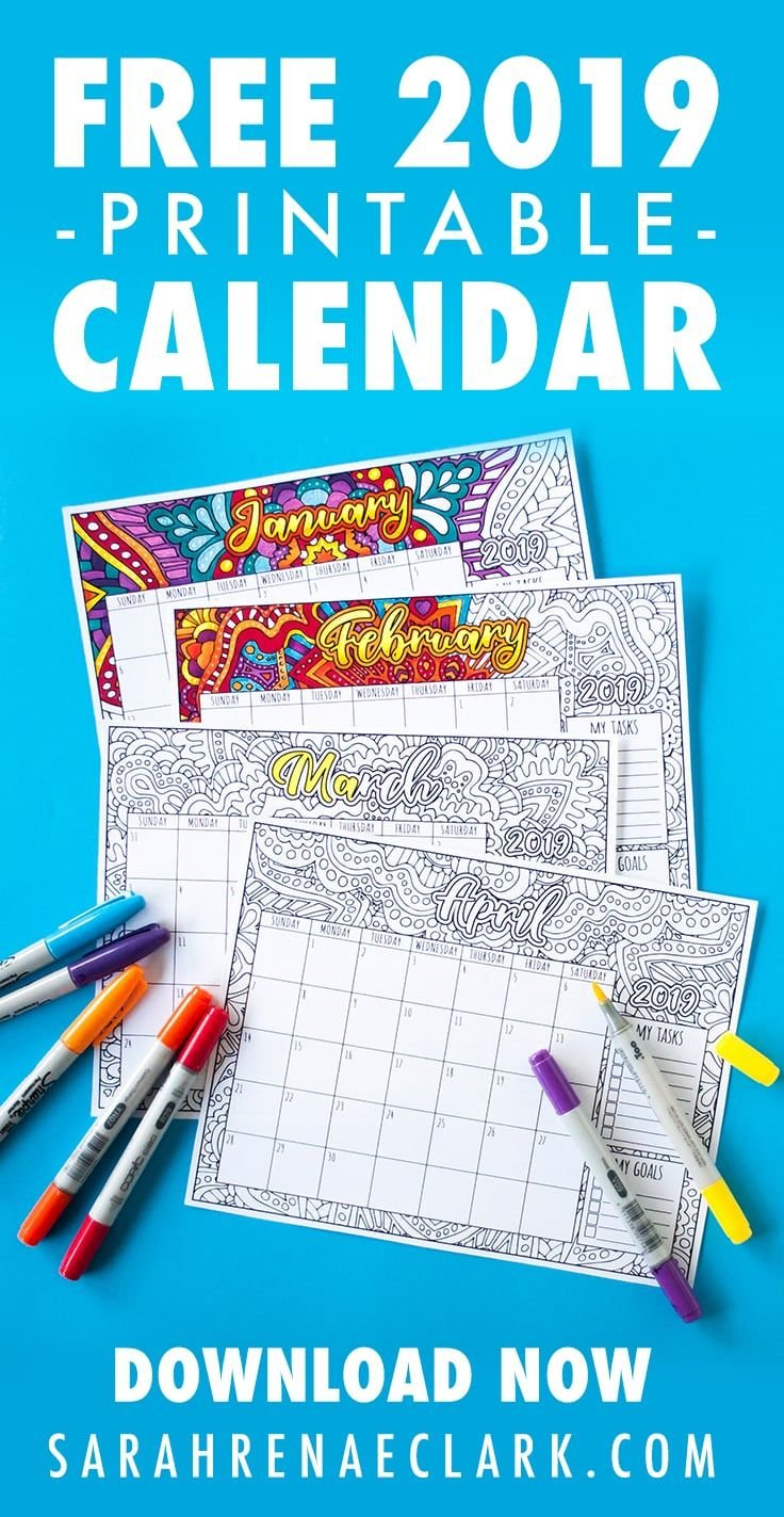 Free 2019 Printable Coloring Calendar | Crafts | Free Coloring Pages Calendar 2019 Write In