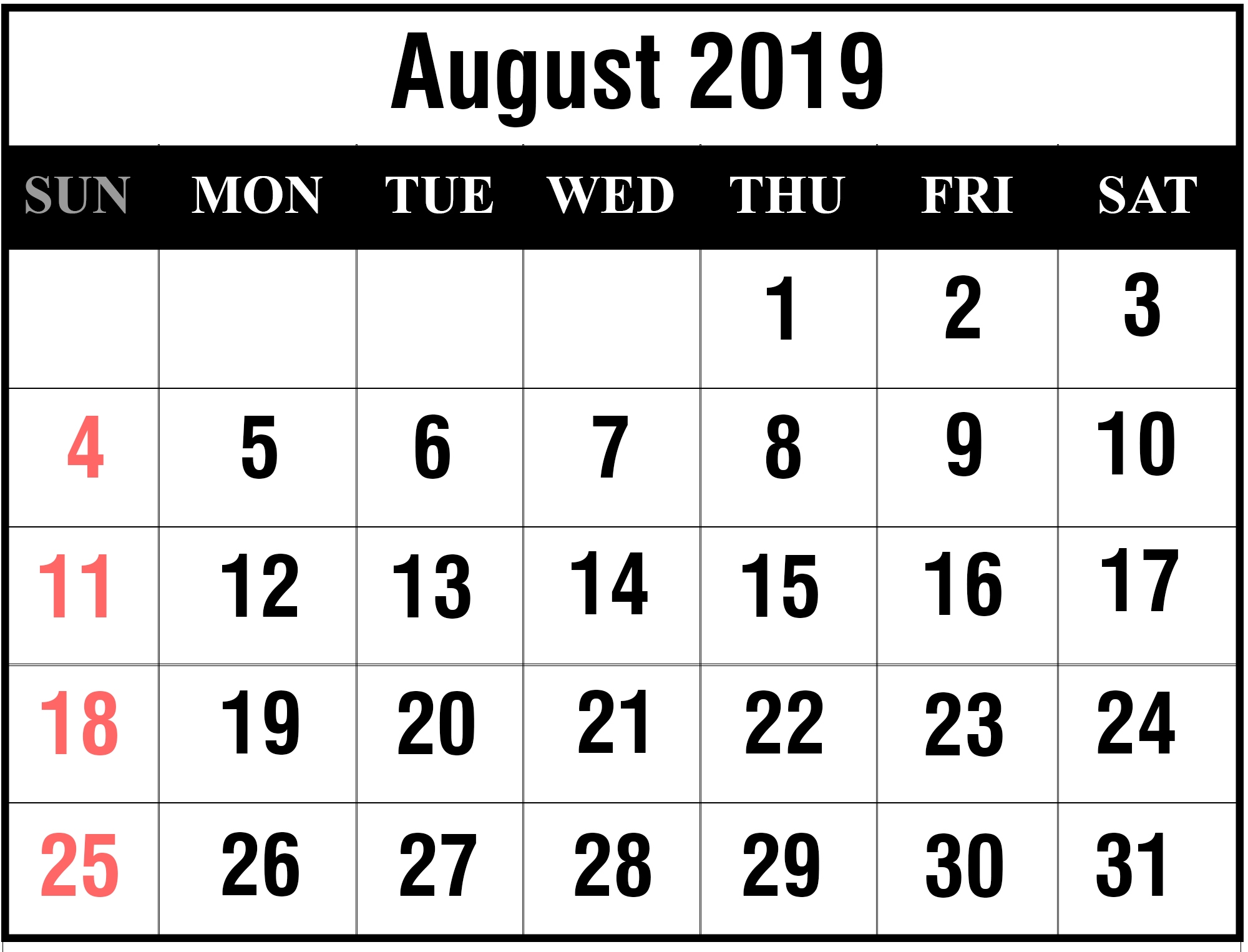 Free August 2019 Printable Calendar Template In Pdf, Excel, Word August 1 2019 Calendar