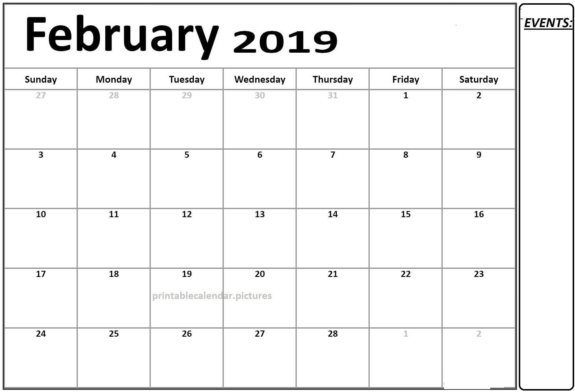 Free Calendar 2019 February Printable Template Pdf | Calendar Of Calendar 2019 Template Pdf