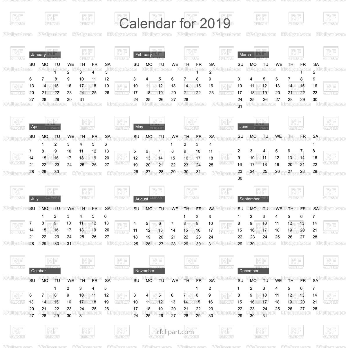 Free Calendar 2019 Layout Free Vector Image – Vector Artwork Of Calendar 2019 Clipart