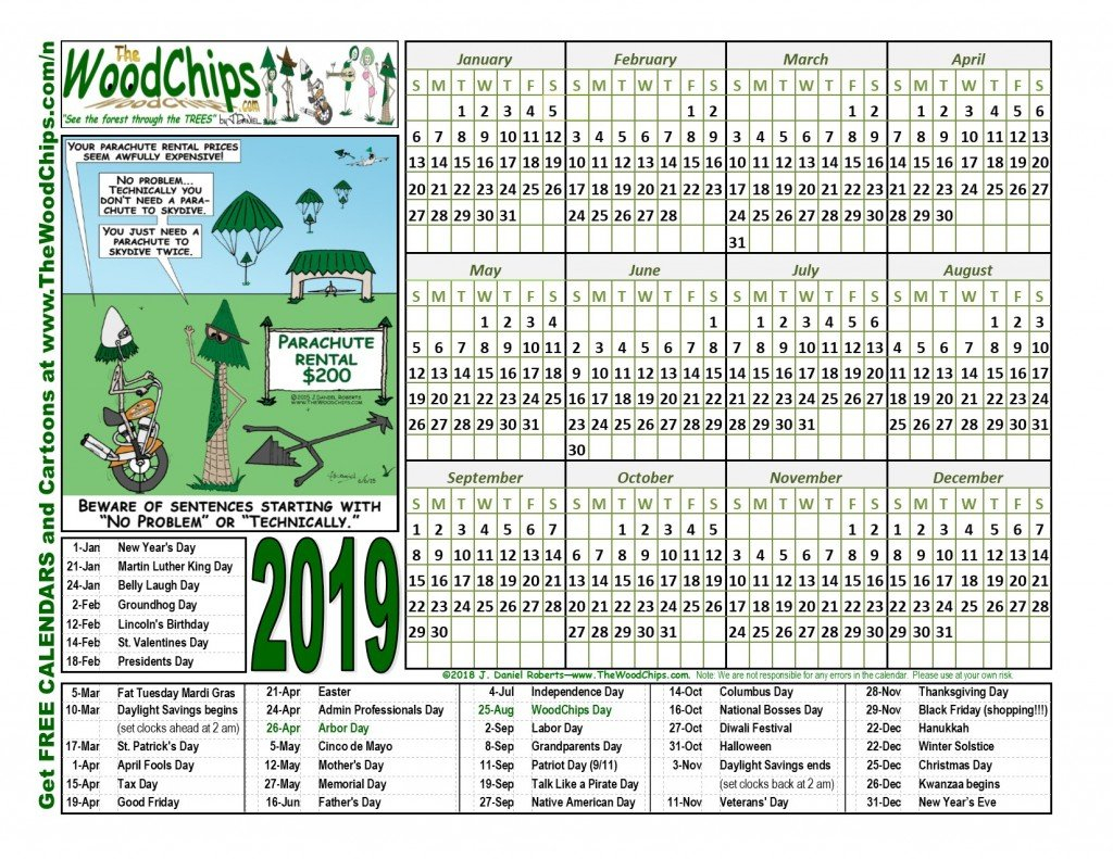 Free Calendars Download 2019 | The Woodchips J Salmon 2019 Calendar