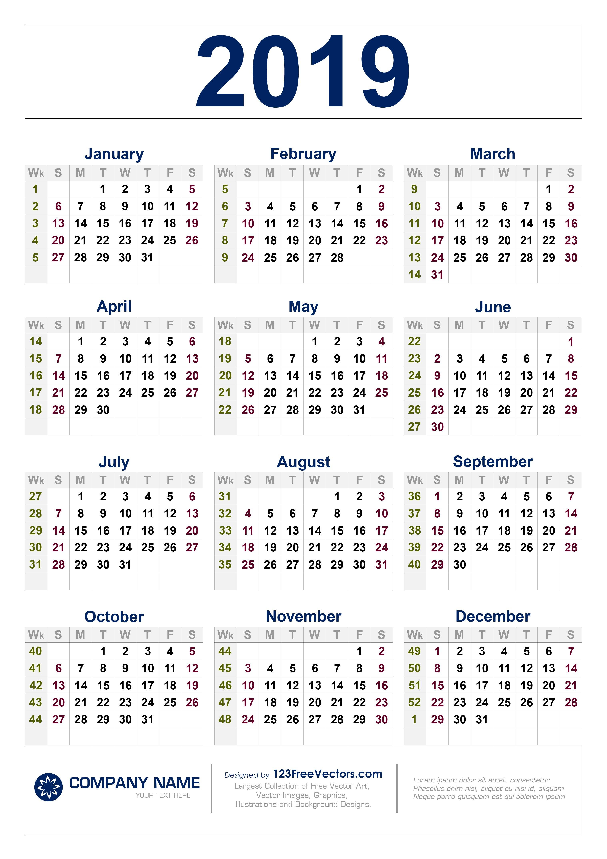 Free Download 2019 Calendar With Week Numbers Week 6 Calendar 2019