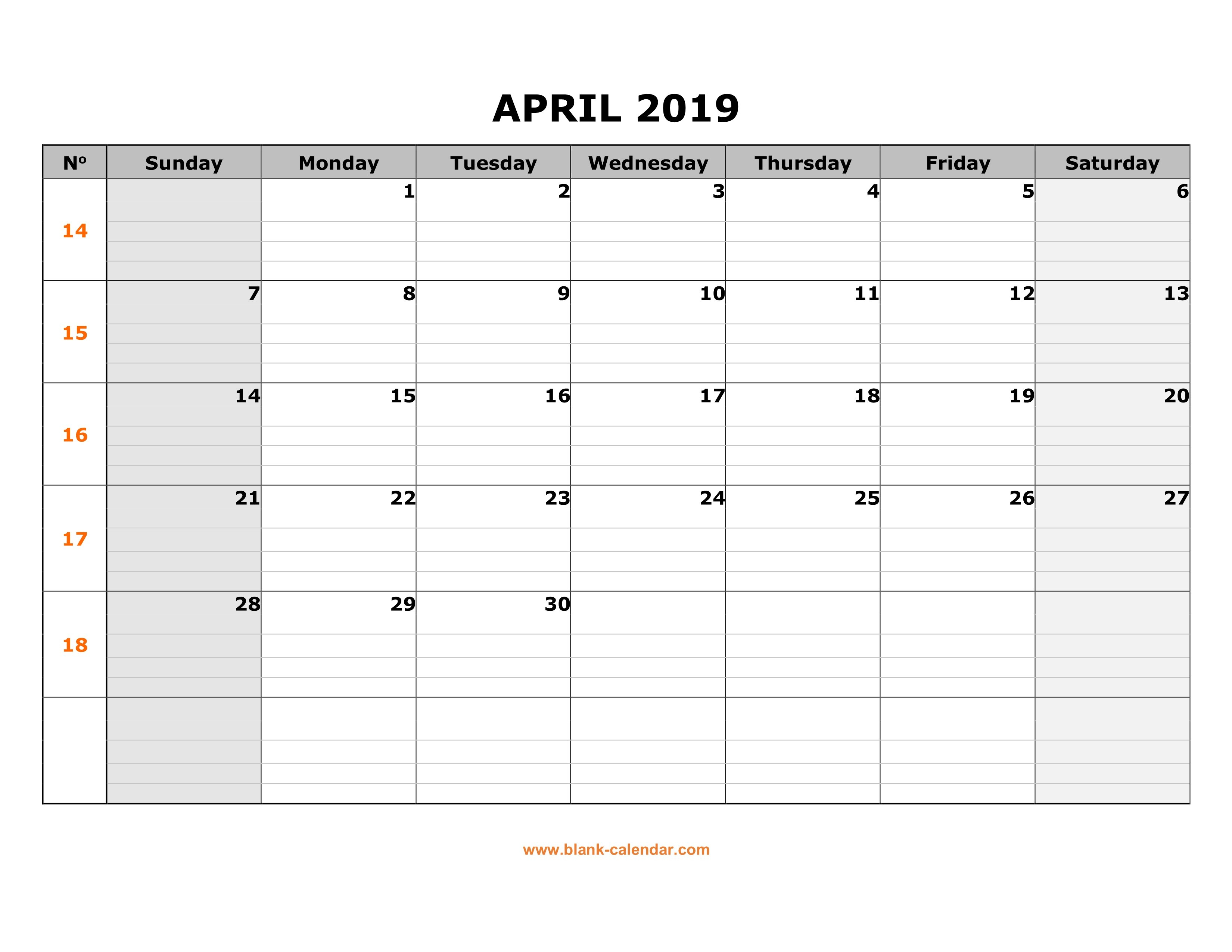 Free Download Printable April 2019 Calendar, Large Box Grid, Space Calendar 2019 With Lines