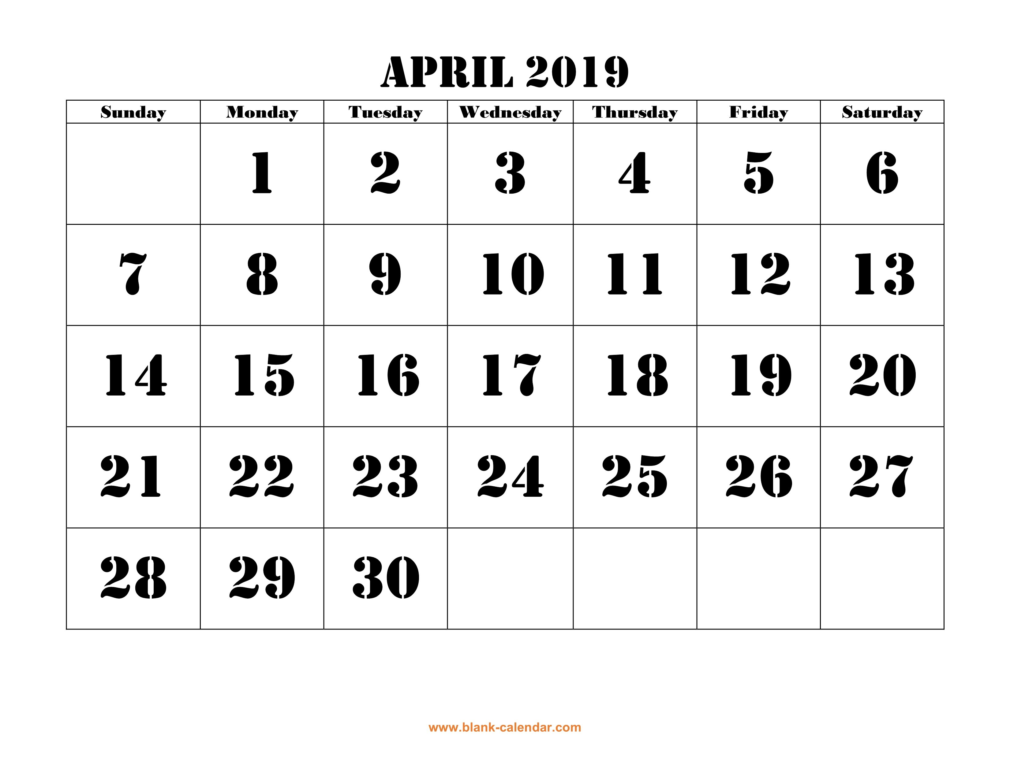 Free Download Printable April 2019 Calendar, Large Font Design April 7 2019 Calendar