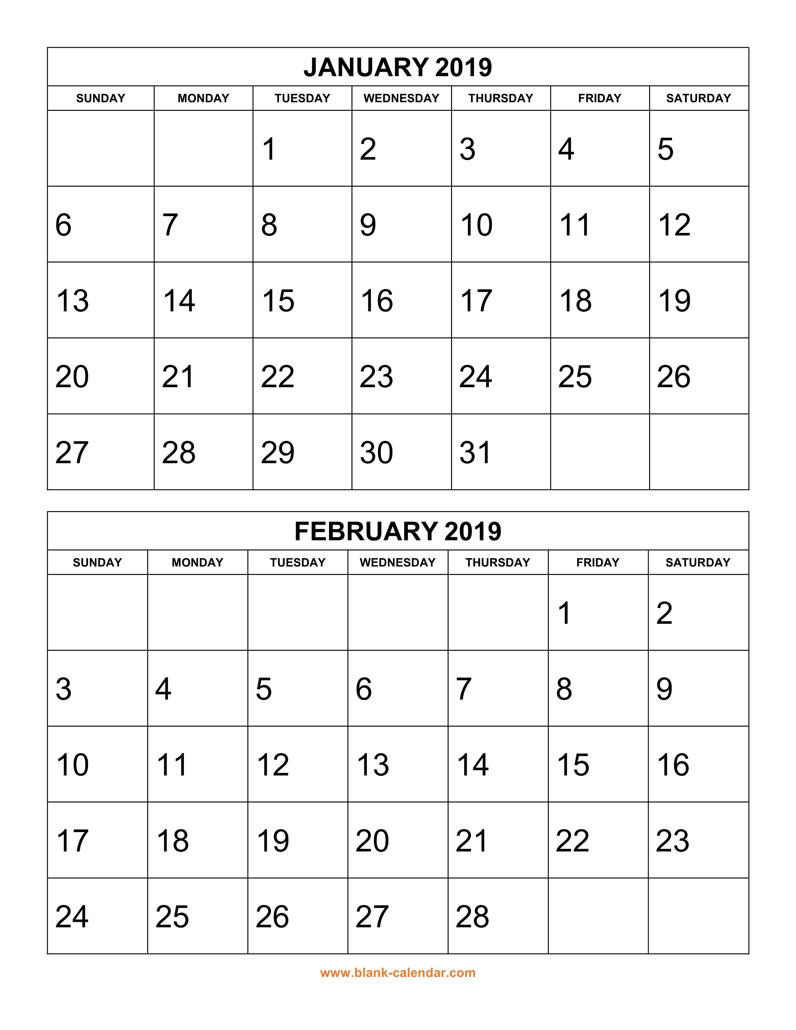 Free Download Printable Calendar 2019, 2 Months Per Page, 6 Pages Calendar 2019 Pages