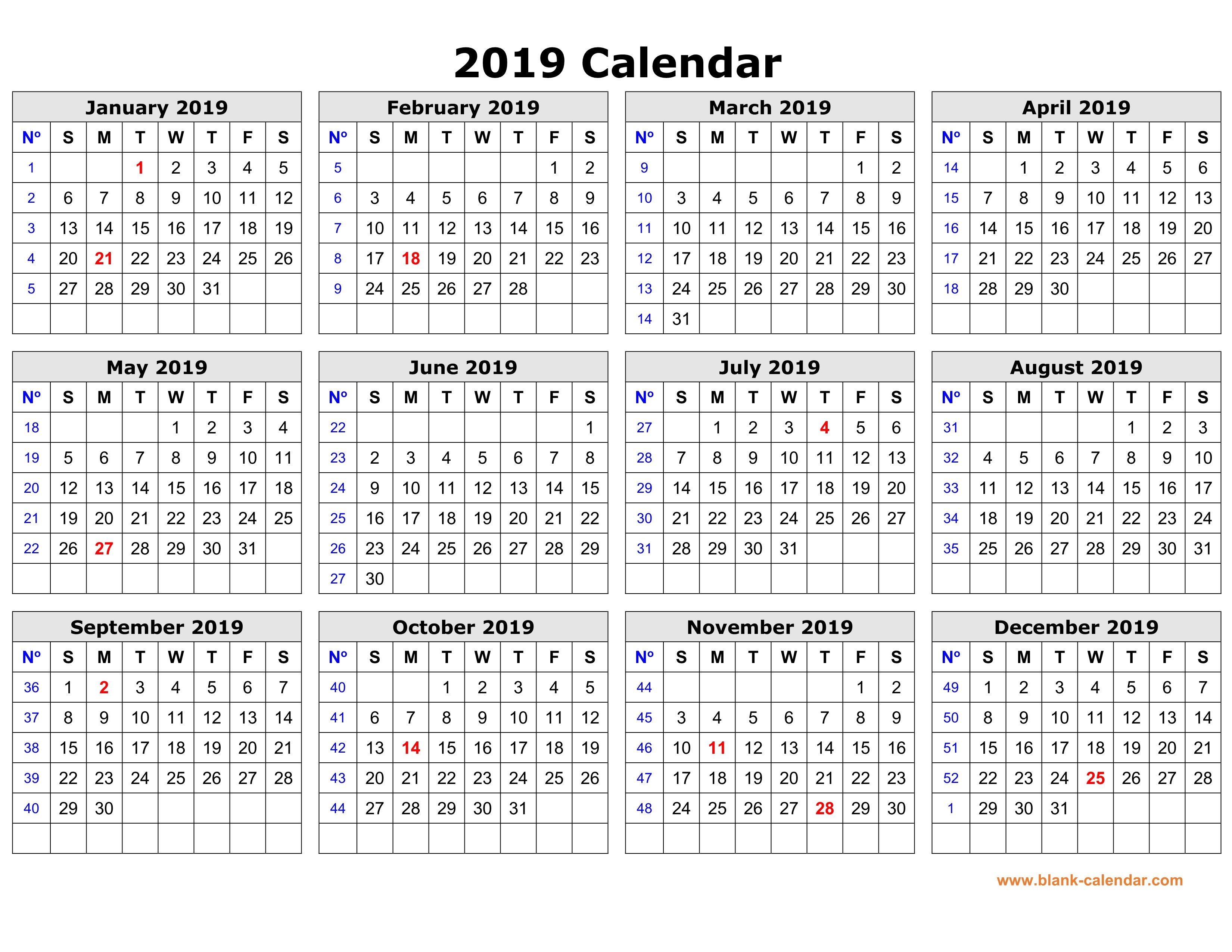 Free Download Printable Calendar 2019 In One Page, Clean Design. Calendar 2019 Printable