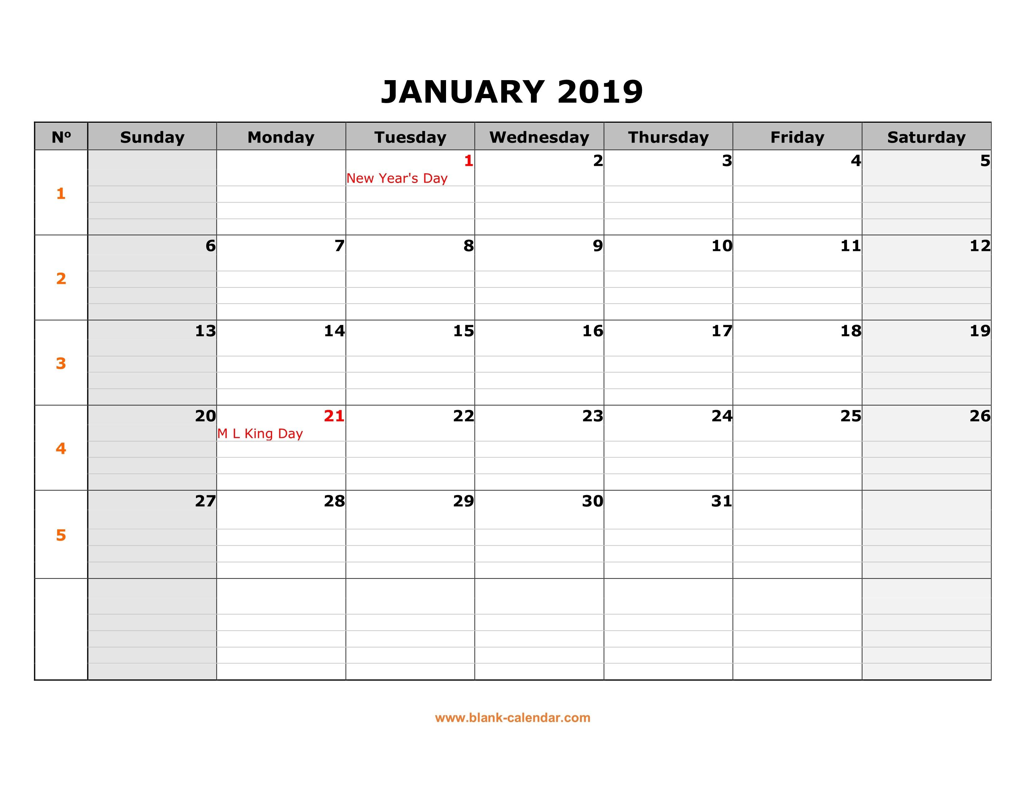 Free Download Printable Calendar 2019, Large Box Grid, Space For Notes Calendar 2019 Large Printable