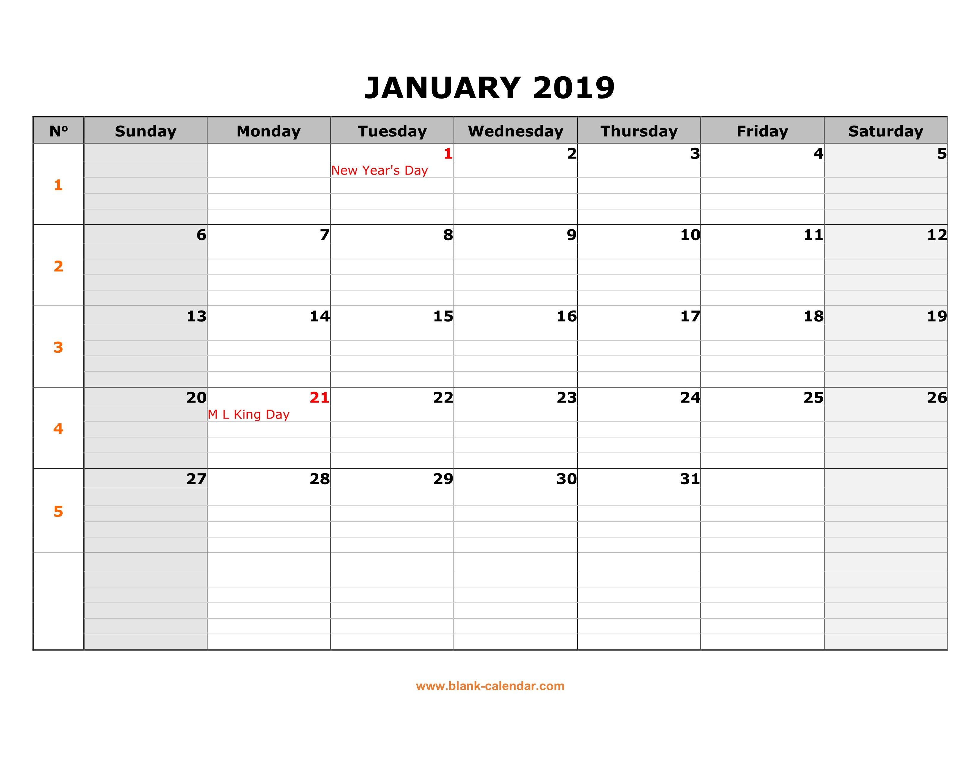 Free Download Printable Calendar 2019, Large Box Grid, Space For Notes Calendar 2019 With Lines