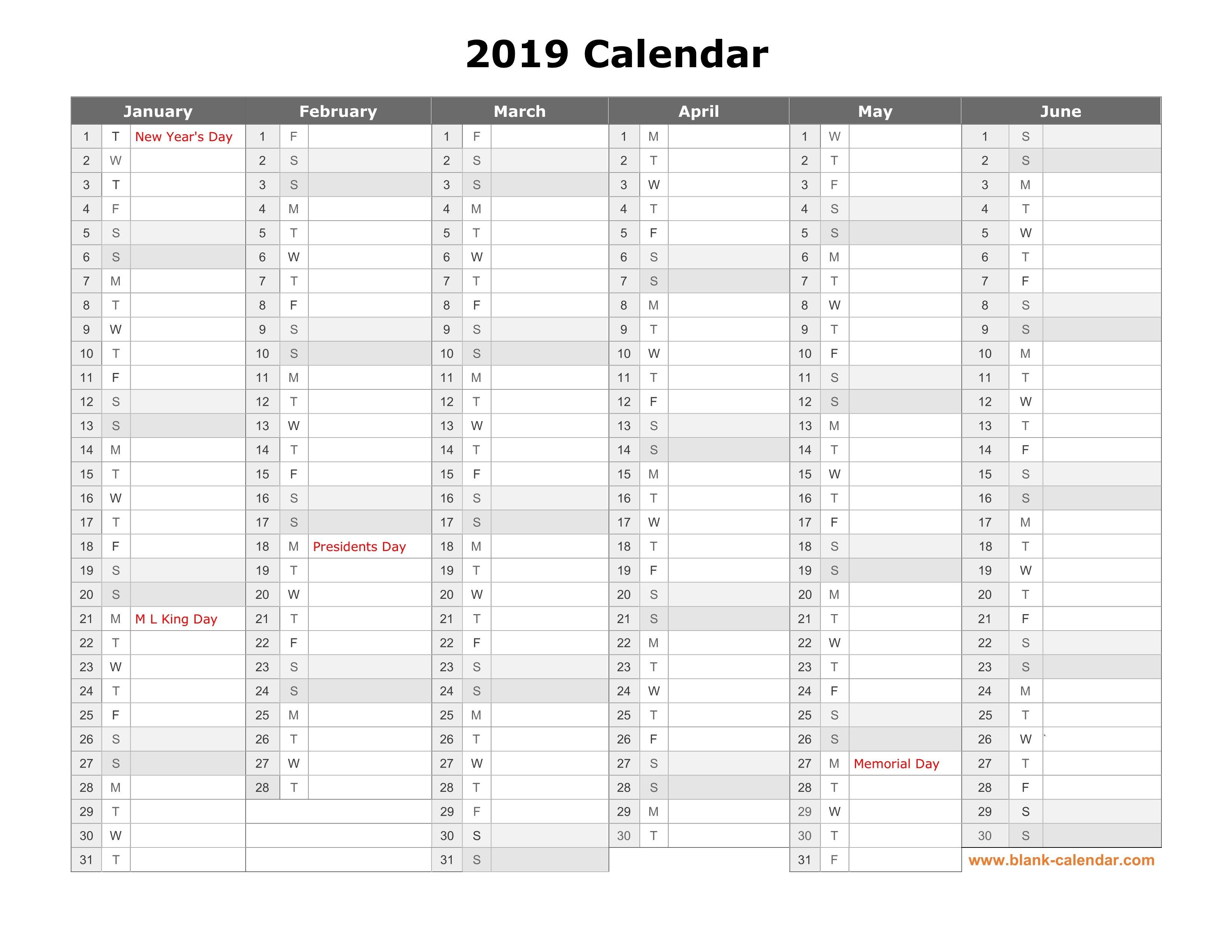 Free Download Printable Calendar 2019, Month In A Column, Half A 2019 Calendar 6 Months Per Page