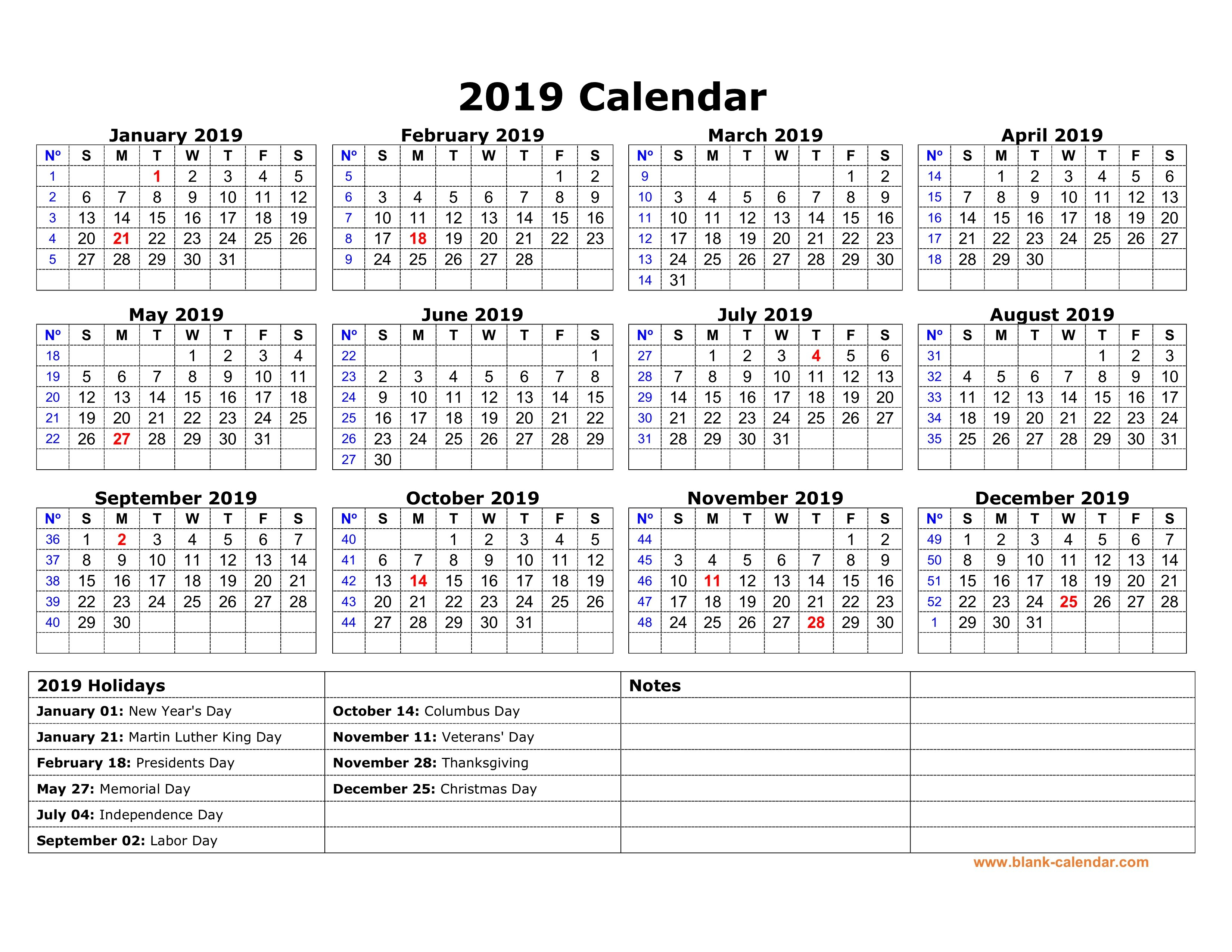 Free Download Printable Calendar 2019 With Us Federal Holidays, One Calendar 2019 Us Holidays