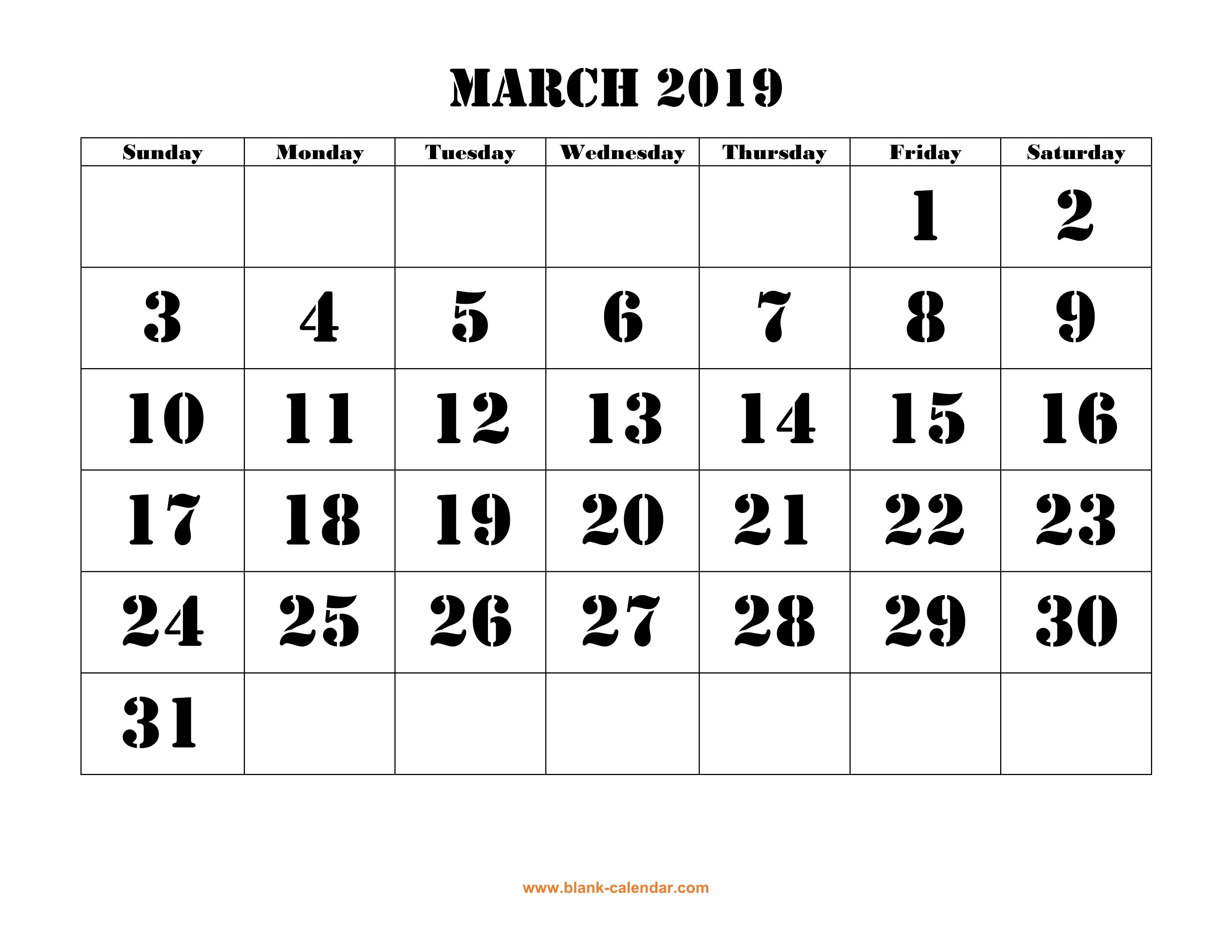 Free Download Printable March 2019 Calendar, Large Font Design March 8 2019 Calendar