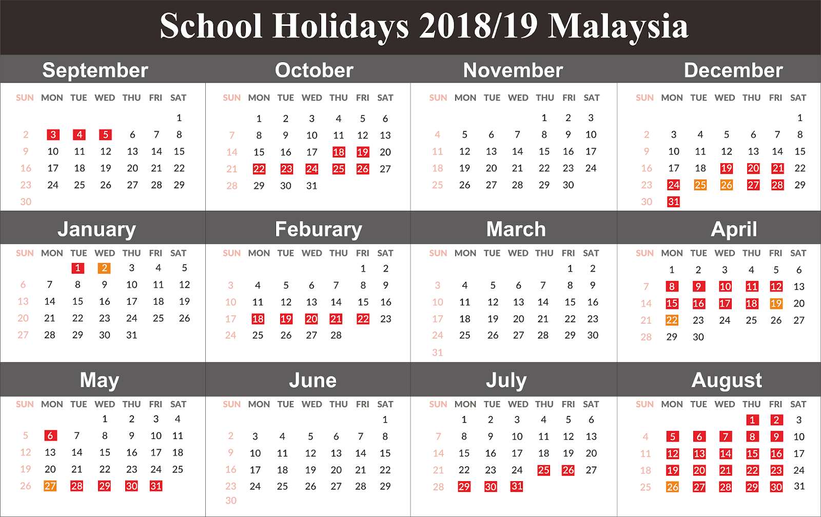 Free Download School Holiday 2019 Malaysia {Template} Calendar 2019 Malaysia