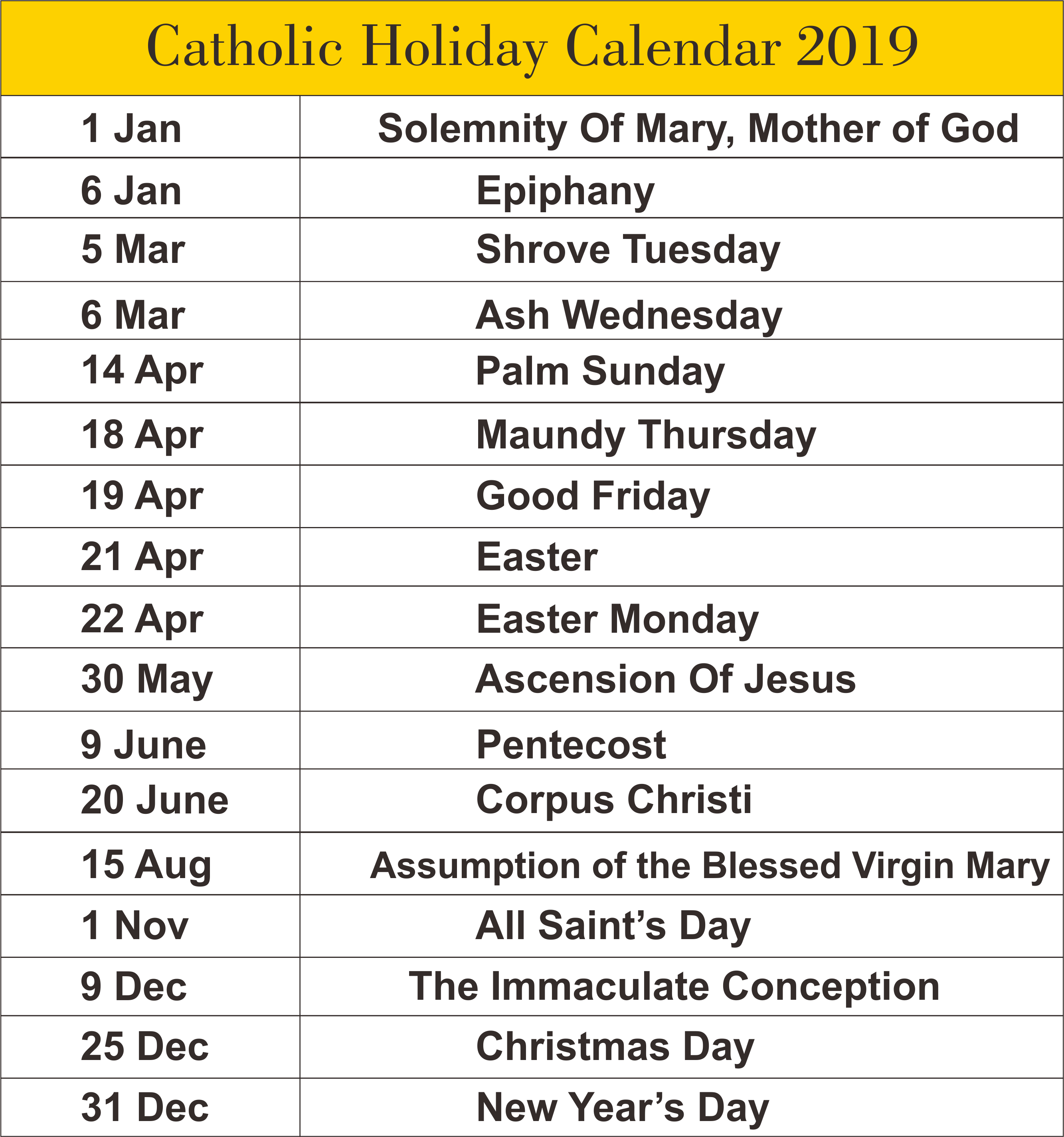 Free Editable Printable Catholic Calendar Template 2019 | Printable Calendar 2019 Catholic