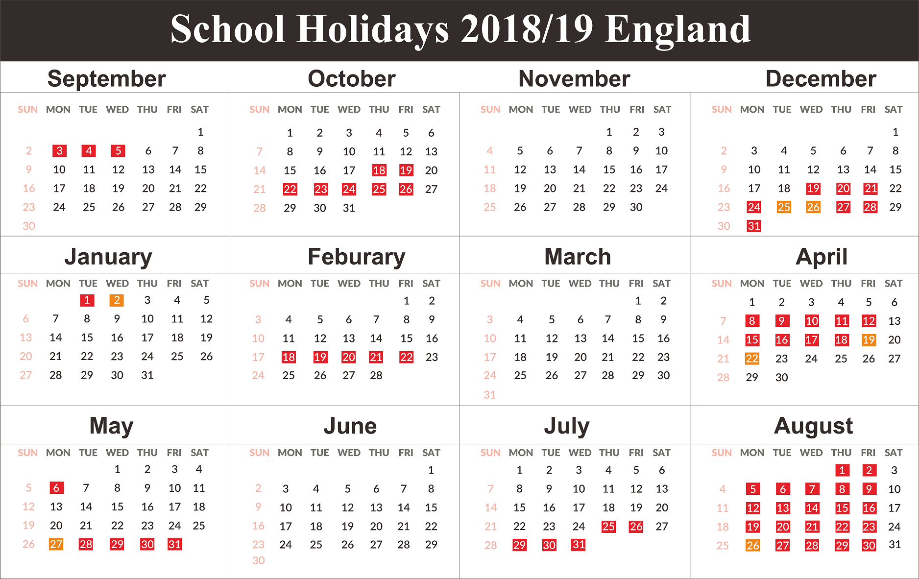 Free England School Holidays Calendar 2018-2019 | Free Printable Calendar 2019 England