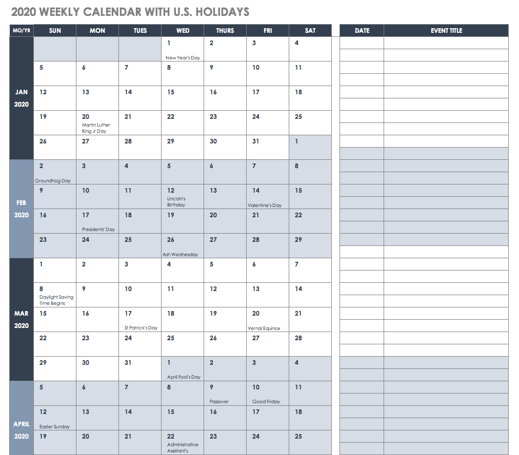 Free Excel Calendar Templates Calendar 2019 In Excel