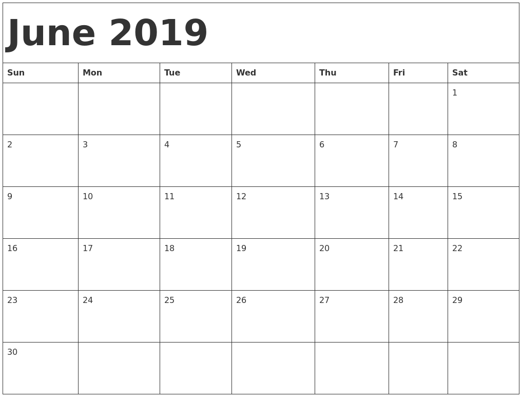 Free June 2019 Printable Calendar Editable Templates – Download Now Calendar 2019 Editable