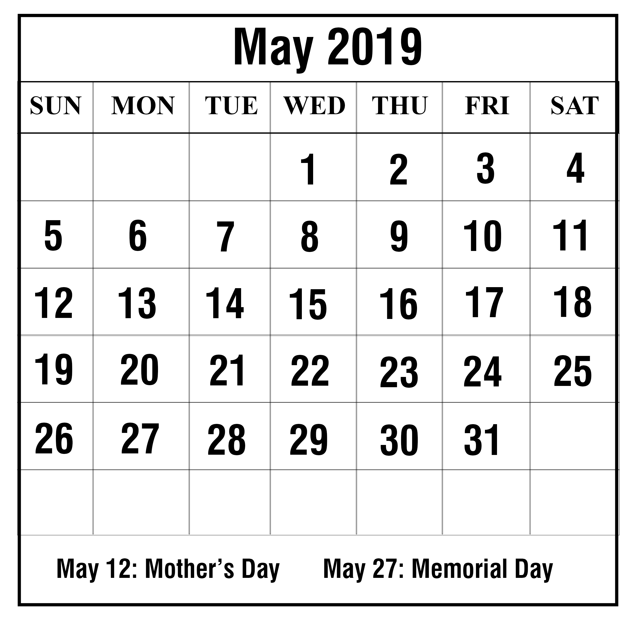 Free May 2019 Printable Calendar In Pdf, Word, Excel | Printable May Calendar 2019 Memorial Day