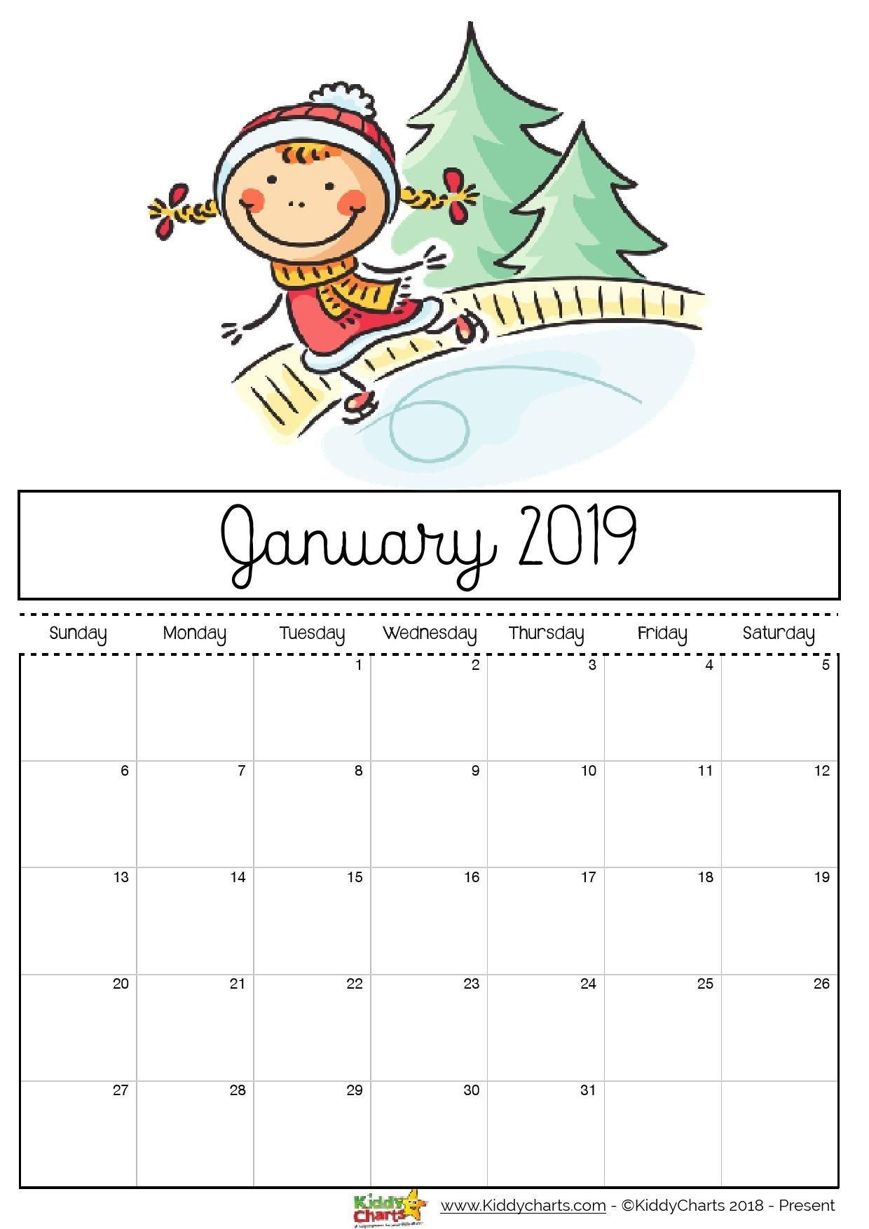 Free Printable 2019 Calendar - Print Yours Here | Planner | Print Calendar 2019 Girly