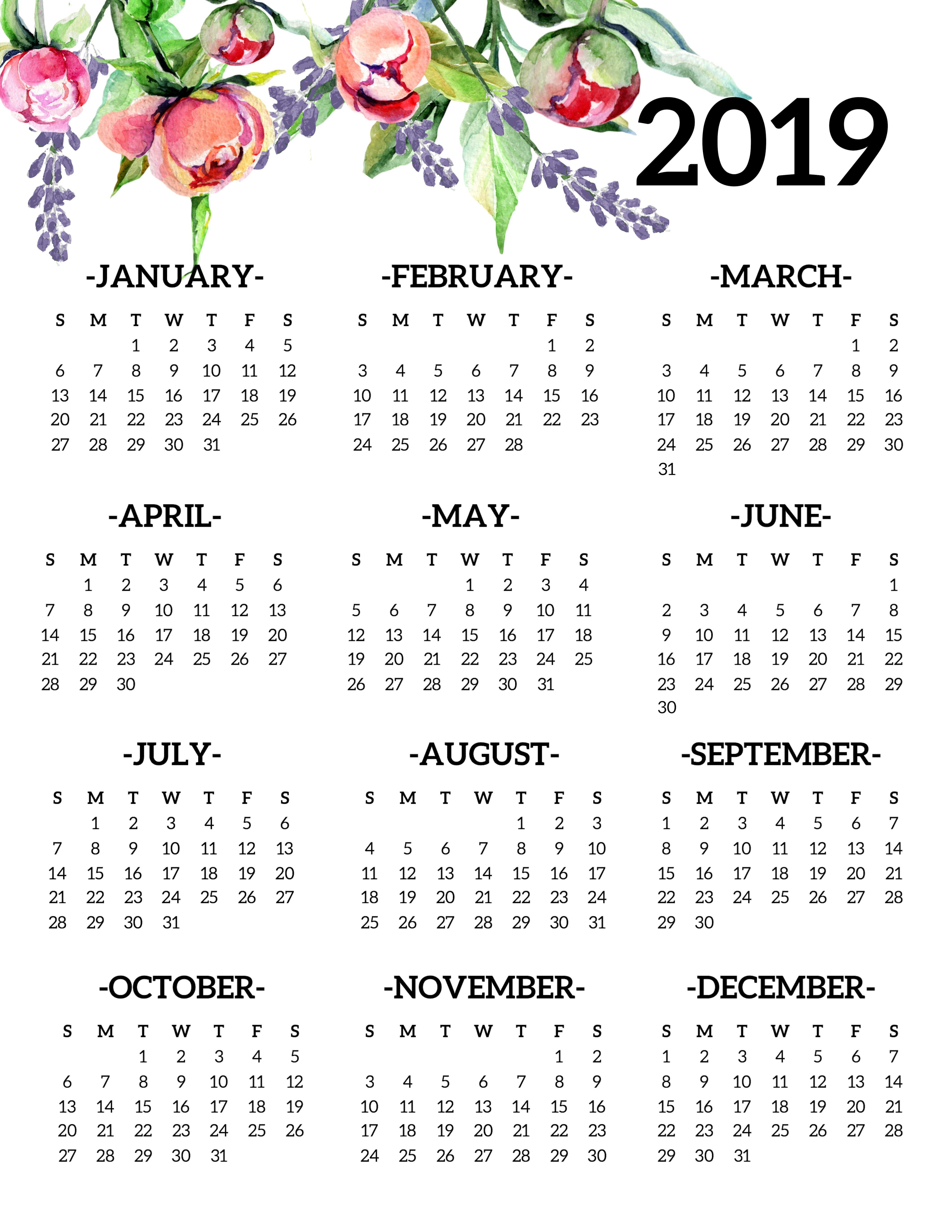 Free Printable 2019 Calendar Yearly One Page Floral - Paper Trail Design Calendar 2019 Year Printable