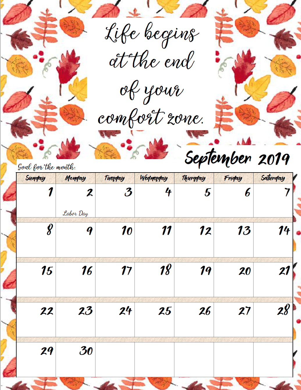 Free Printable 2019 Monthly Motivational Calendars Calendar 2019 Quotes