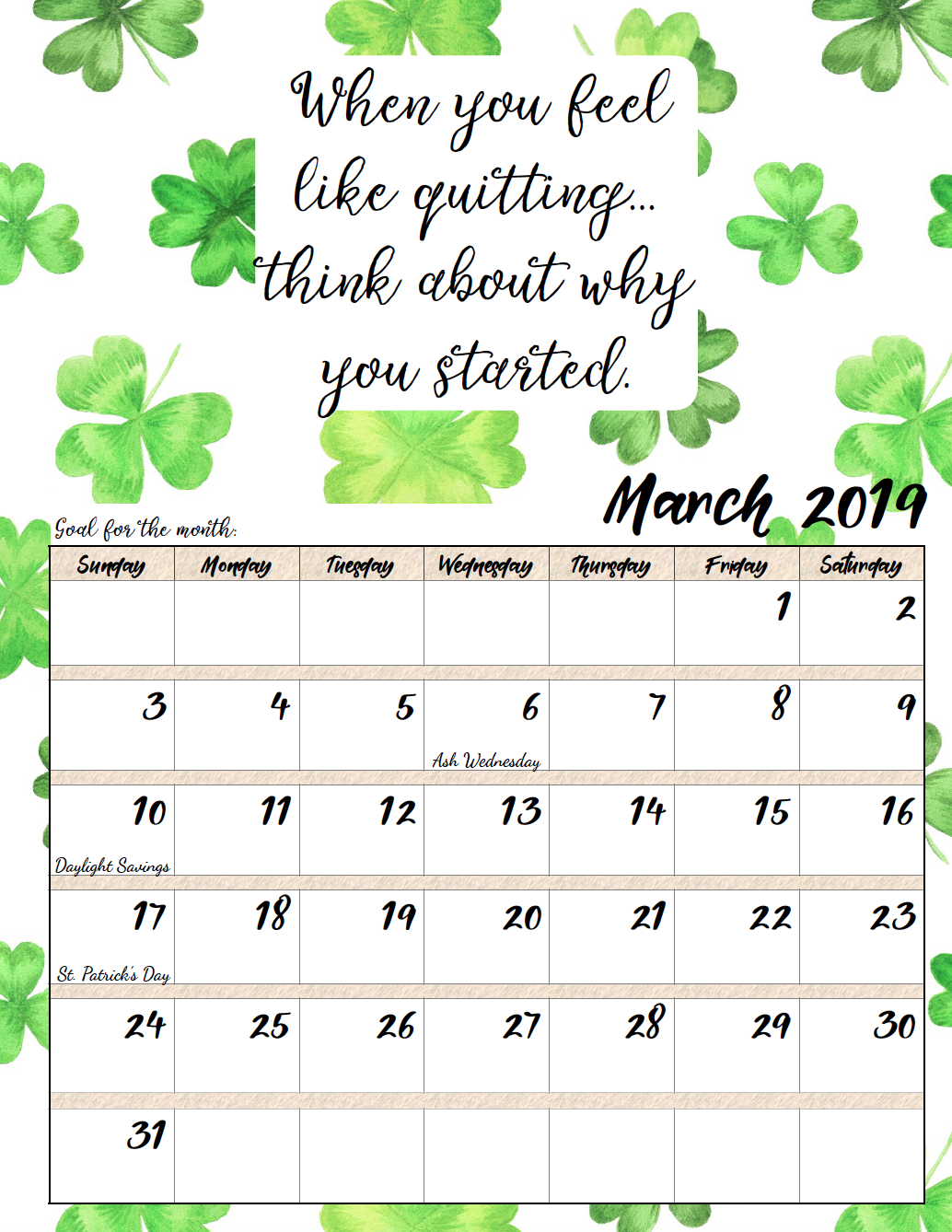 Free Printable 2019 Monthly Motivational Calendars | Morning Prayers Calendar 2019 Quotes