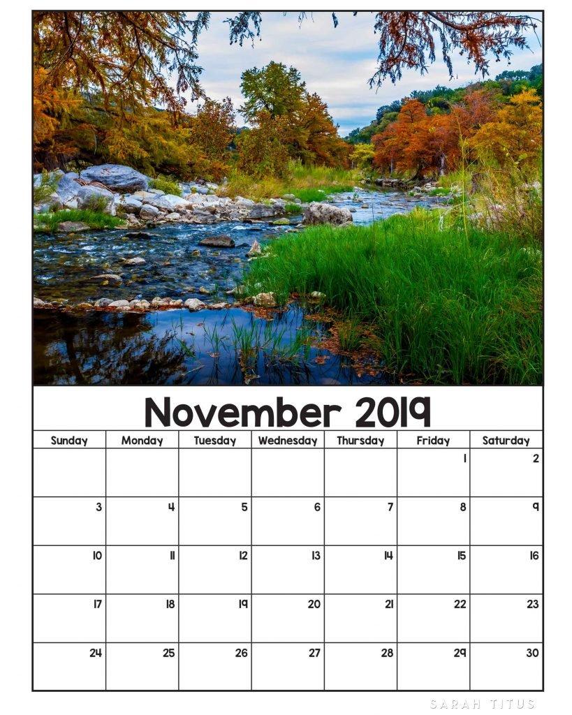 Free Printable 2019 Nature Calendars - Sarah Titus Calendar 2019 Nature