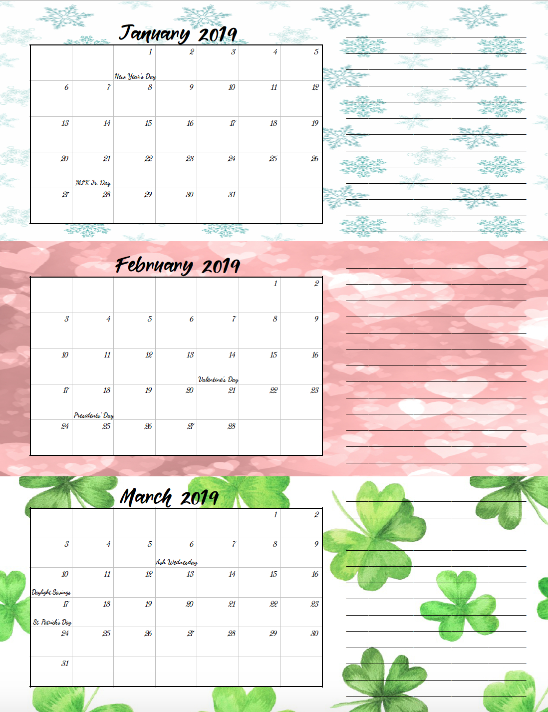 Free Printable 2019 Quarterly Calendars With Holidays: 3 Designs Calendar 2019 Themes