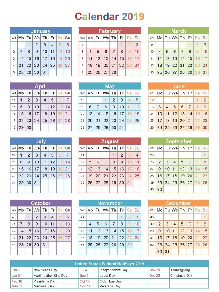 Free Printable Blank Calendar 2019 With Usa Holidays Download Calendar 2019 With Holidays Usa Printable