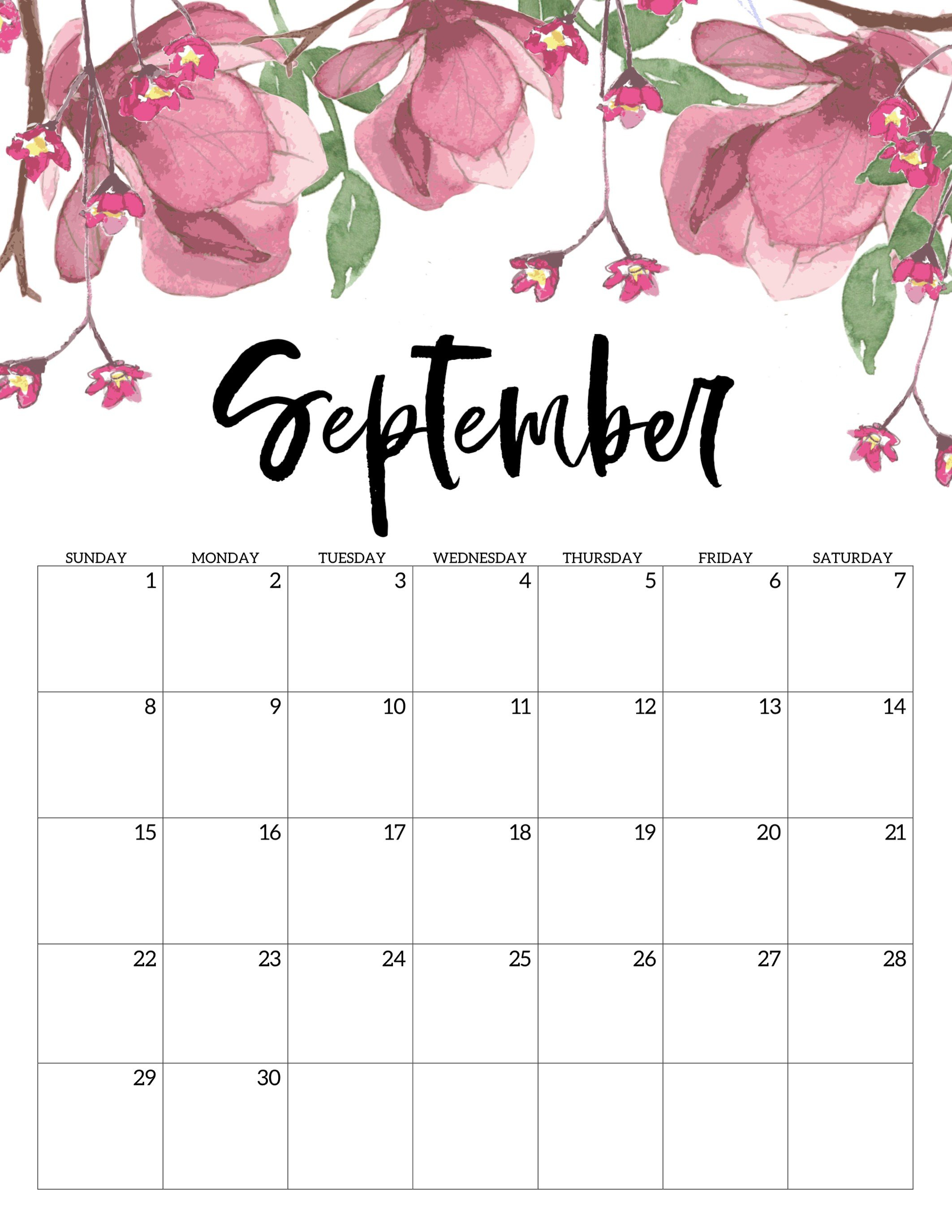 Free Printable Calendar 2019 - Floral - Paper Trail Design Calendar 2019 Girly