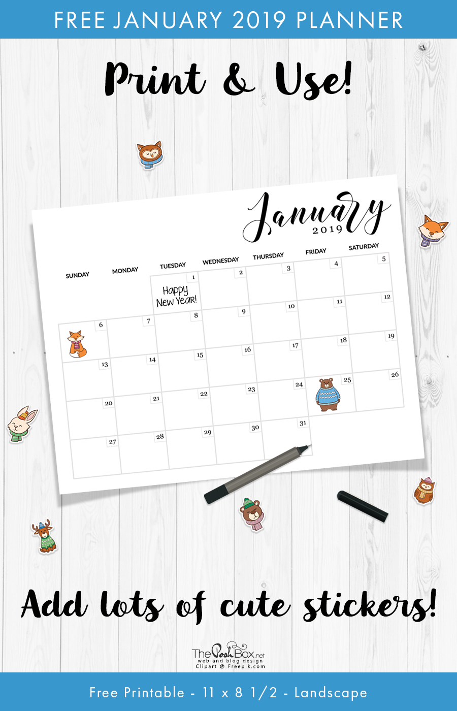 Free Printable January Calendar & Planner | The Posh Box Calendar 2019 Officemax