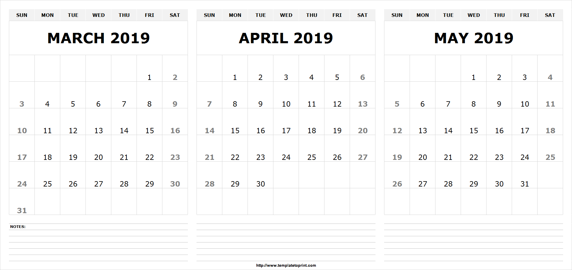 Free Printable March April May 2019 Calendar - Printable Calendar Calendar 2019 April May