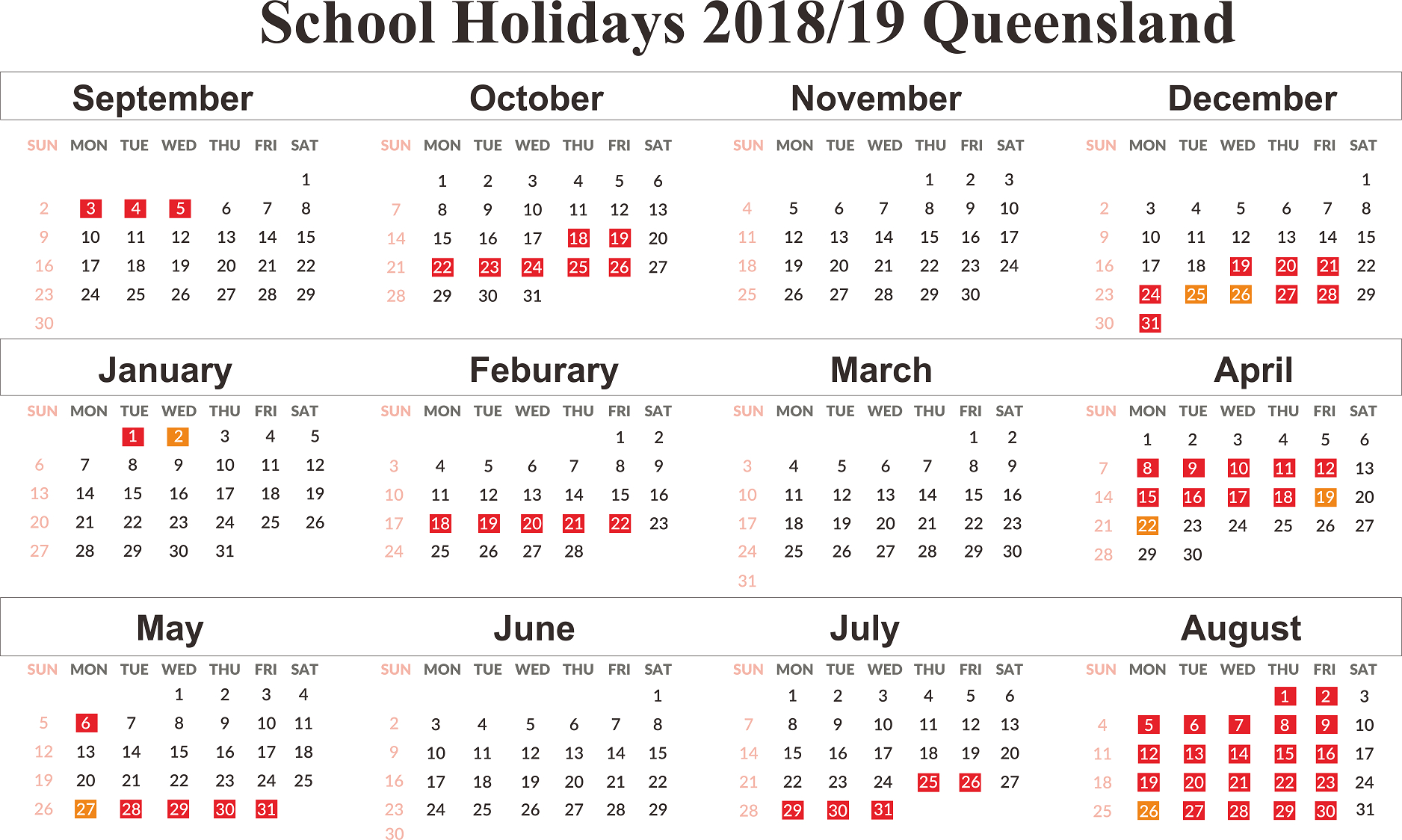 Free Qld (Queensland) School Holidays Calendar 2018-2019 | Free 2019 Calendar Qld Holidays