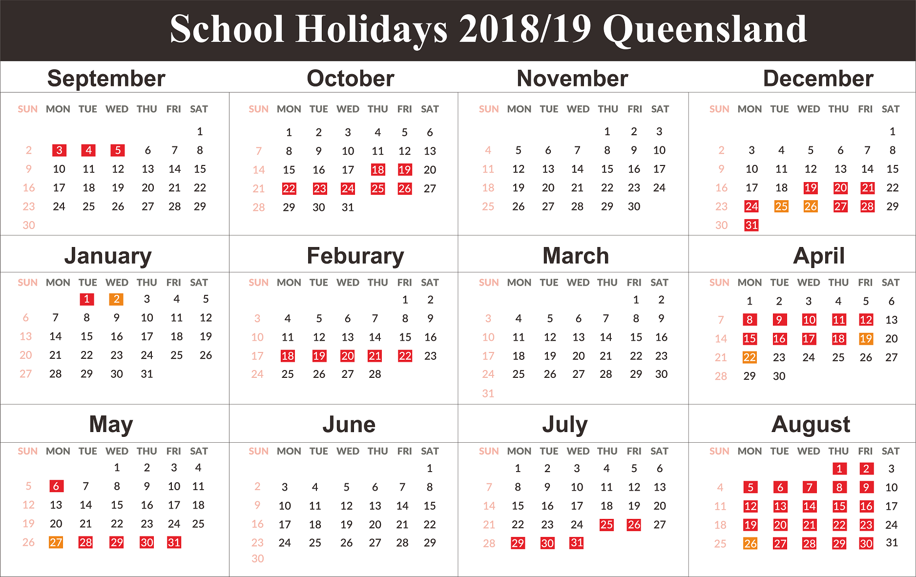 Free Qld (Queensland) School Holidays Calendar 2018-2019 | Free Calendar 2019 Qld School Holidays