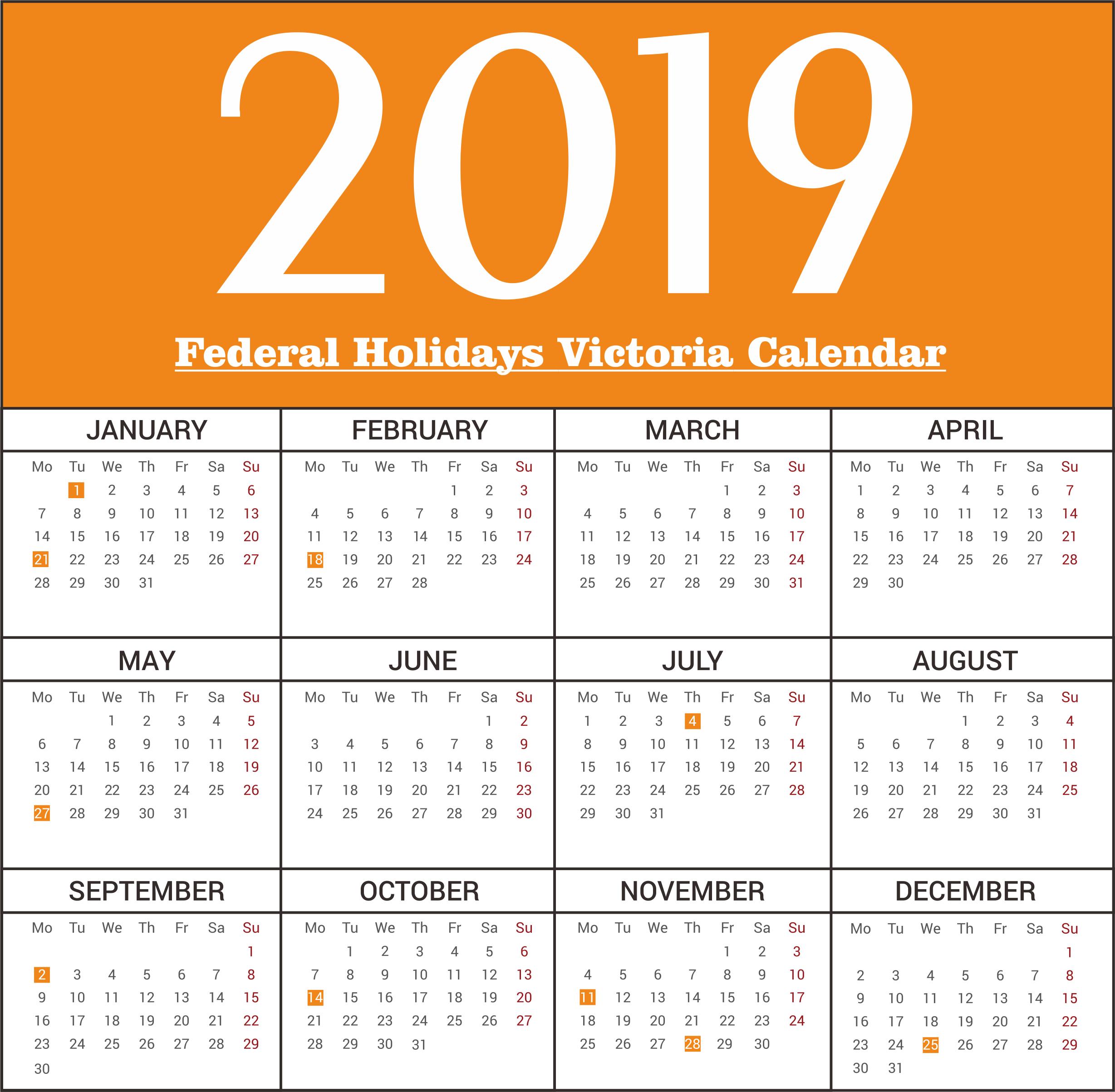 Free Victoria Federal Holidays 2019 Calendar Templates | Free Calendar 2019 Victoria