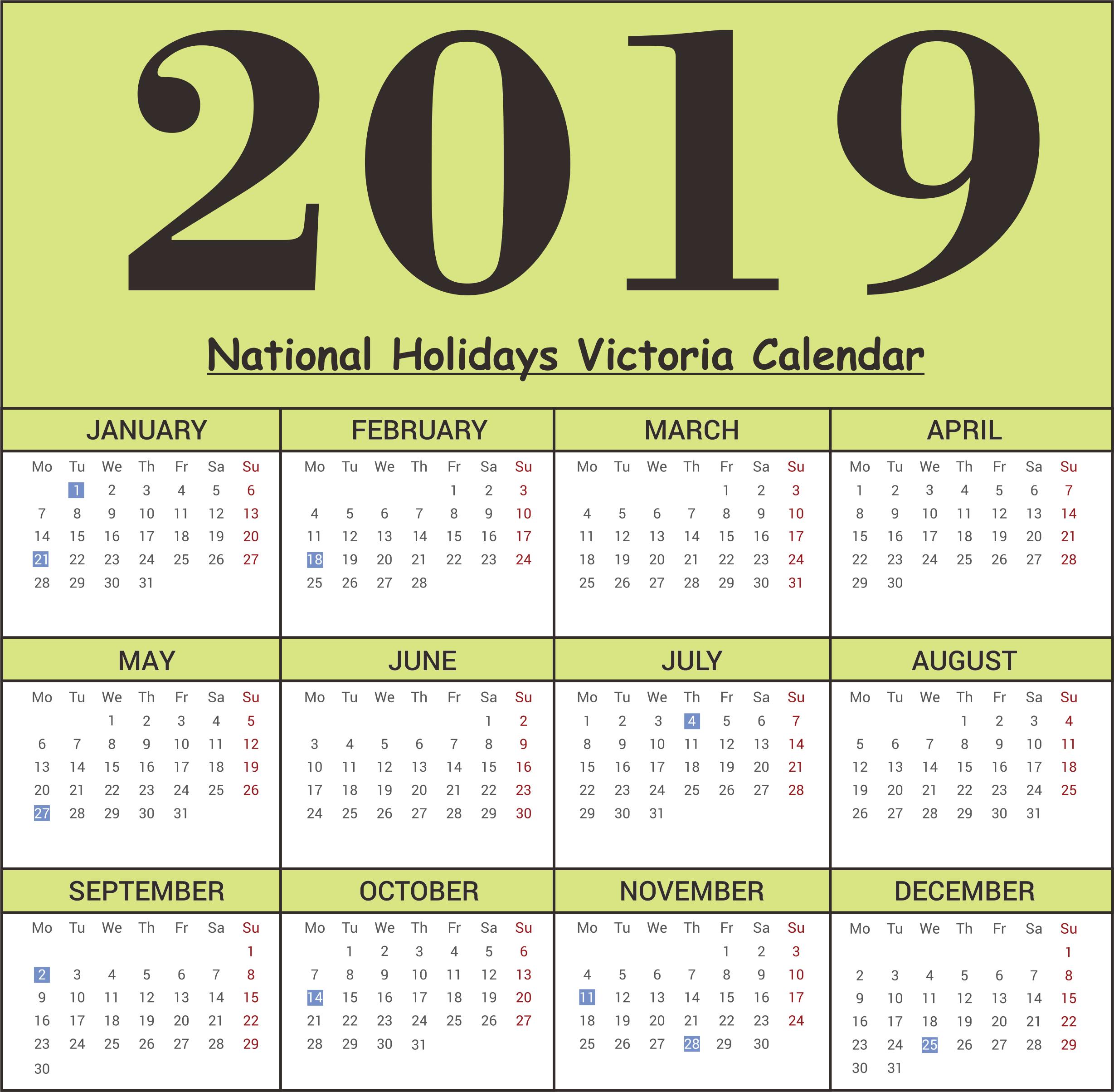 Free Victoria National Holidays 2019 Calendar Templates | Free Calendar 2019 Victoria