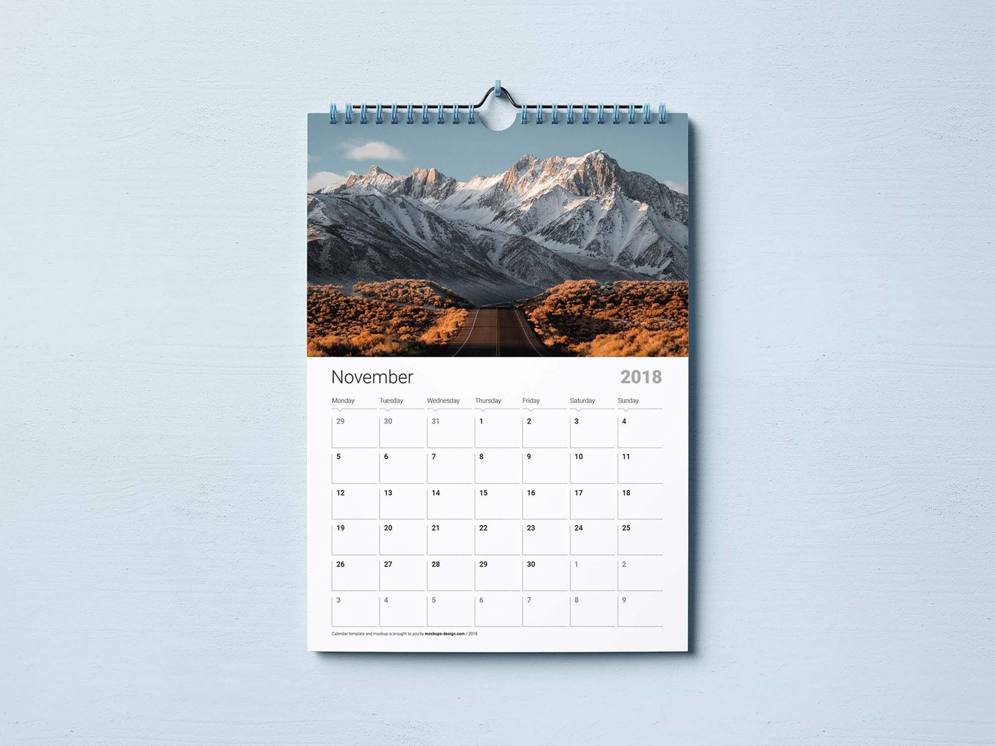 Free Wall Calendar Mockup & Template (Psd) | Mock Up Calendar 2019 Template Psd