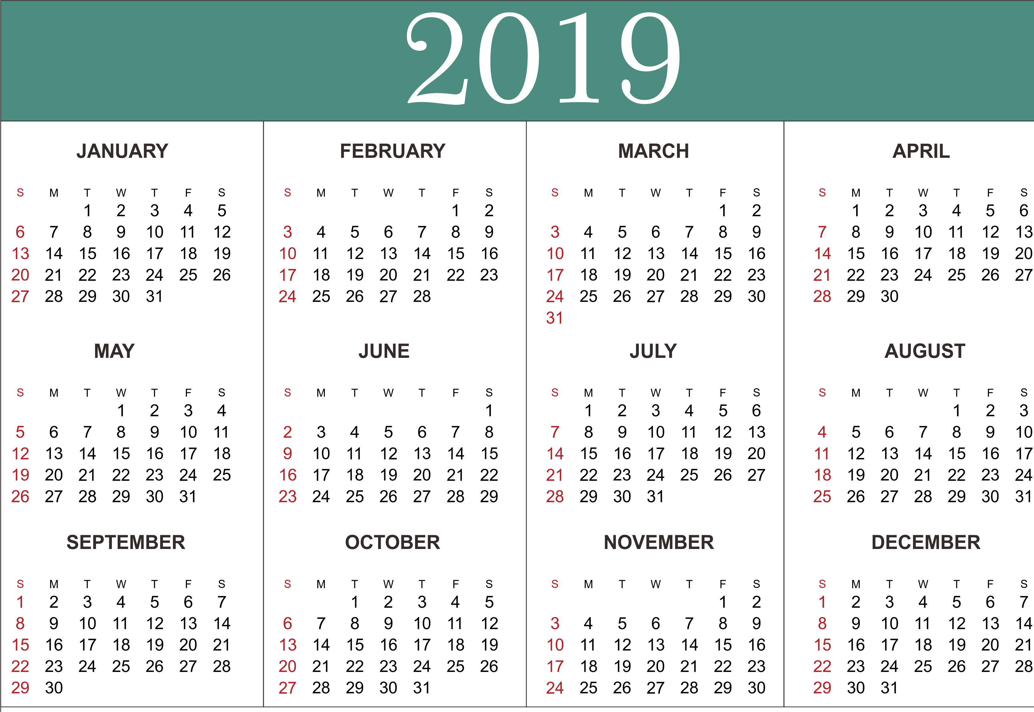 Free Yearly Calendar 2019 - Printable Blank Templates - Calendar Calendar 2019 Entire Year