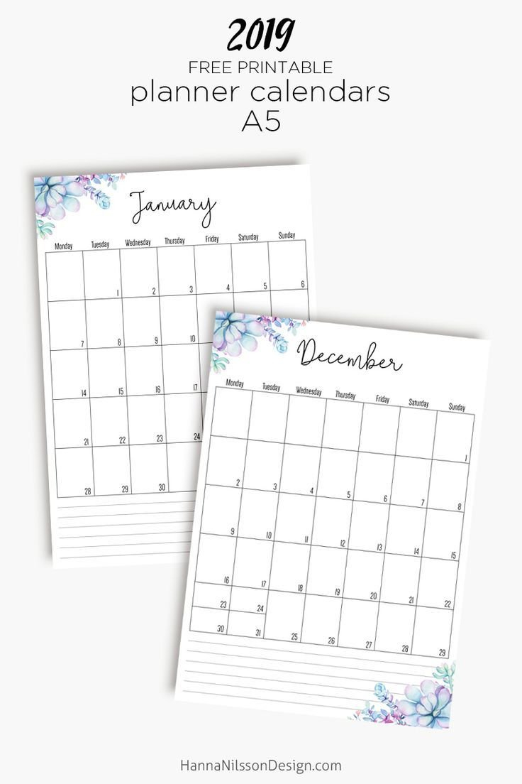 Free Yearly Calendar | Journaling My Life | A5 Planner Printables Calendar 2019 Near Me