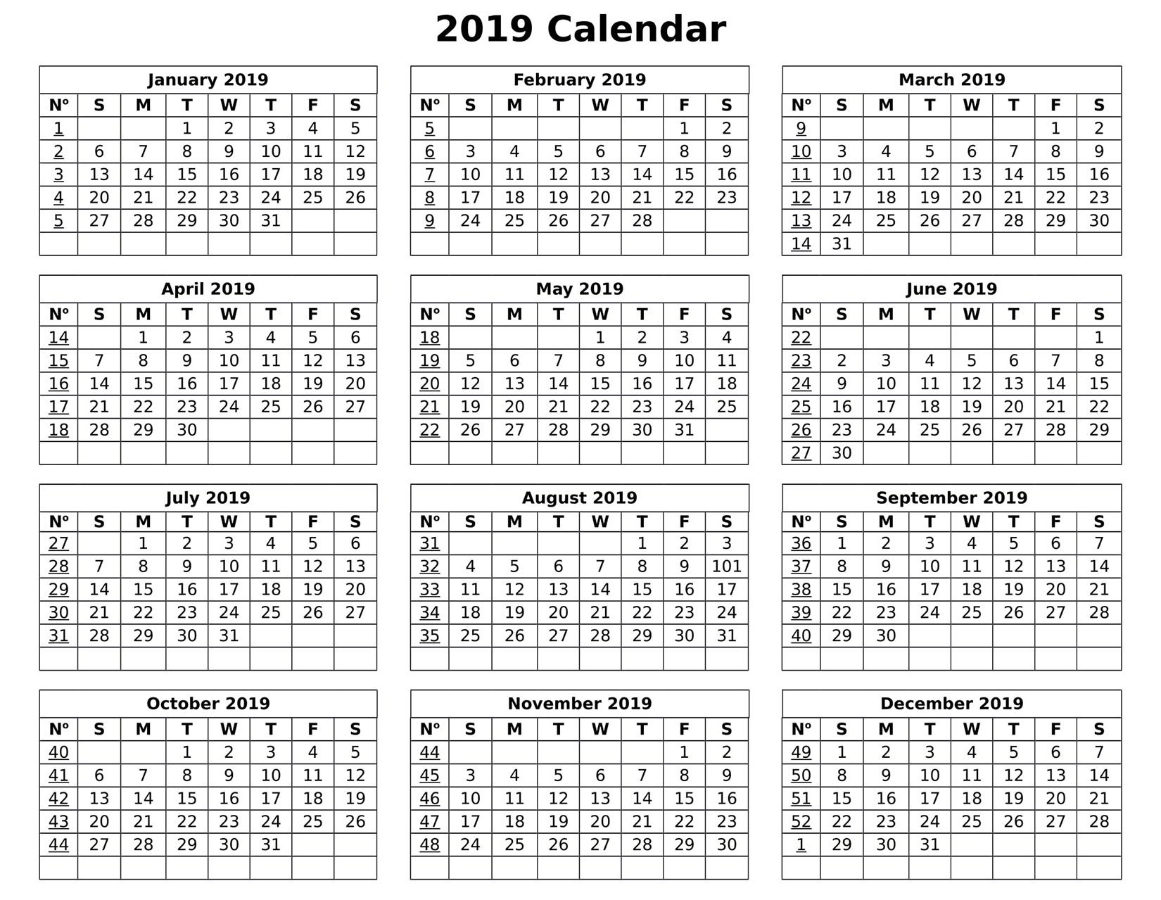 Full Year Calendar For 2019 – Free Calendar Templates & Worksheets Calendar 2019 Entire Year