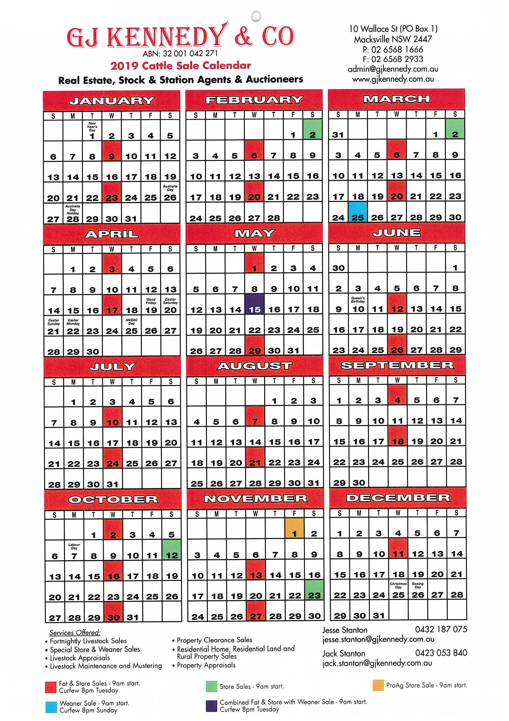 G J Kennedy & Co Pty Ltd - Livestock Sale Dates Calendar 2019 Sale