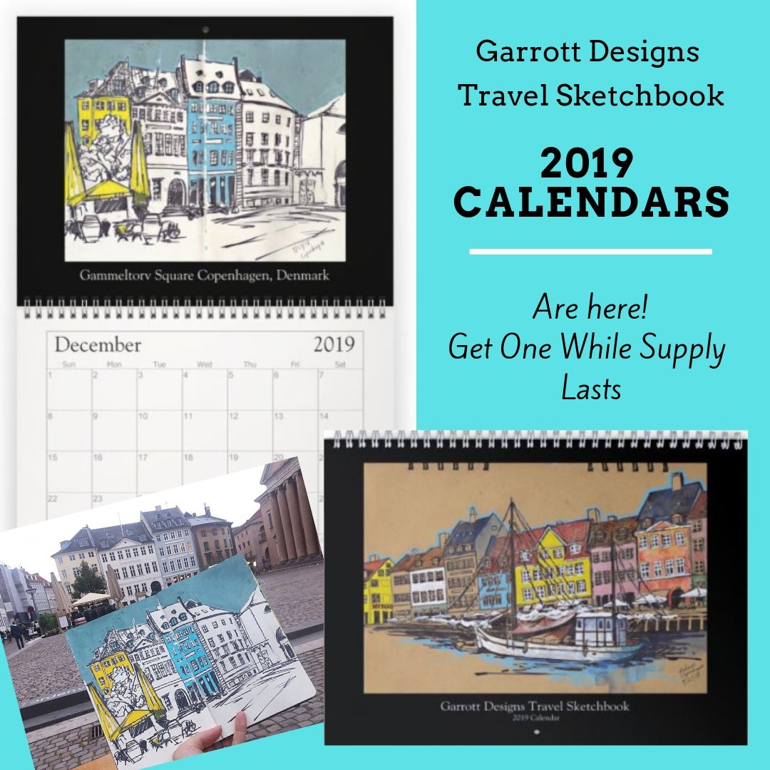"Garrott Designs 2019 Wall Calendar ""travel Sketchbook"" - Garrott Designs Calendar 2019 Travel"