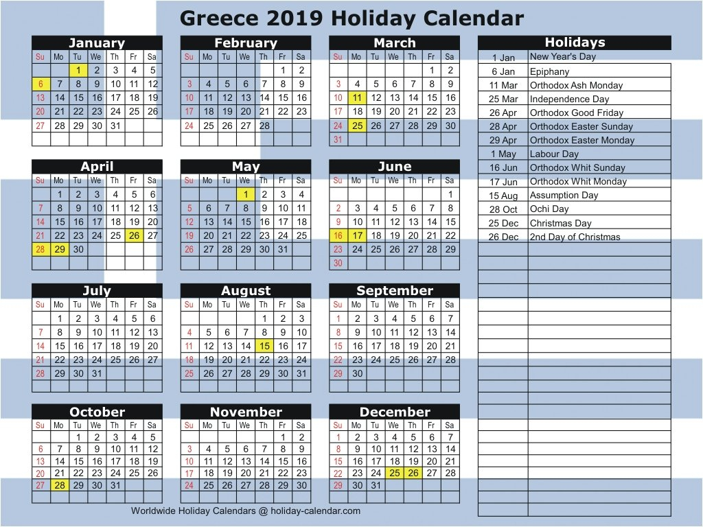Greece 2019 / 2020 Holiday Calendar Calendar 2019 Greece